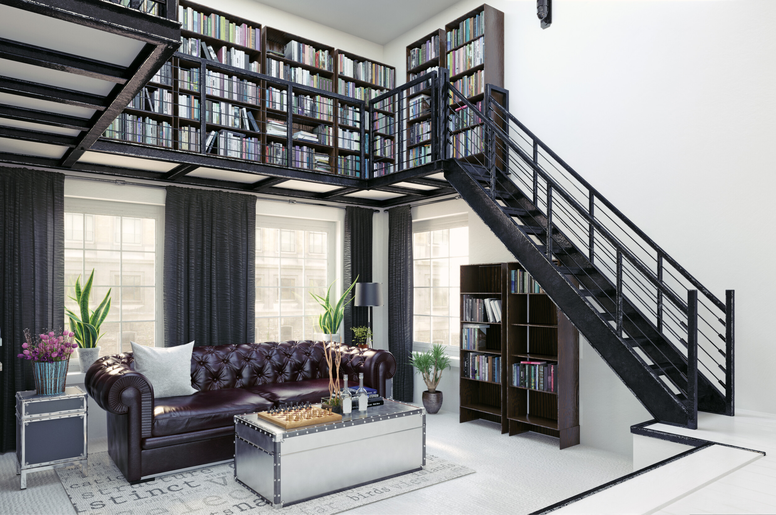home library with stairs