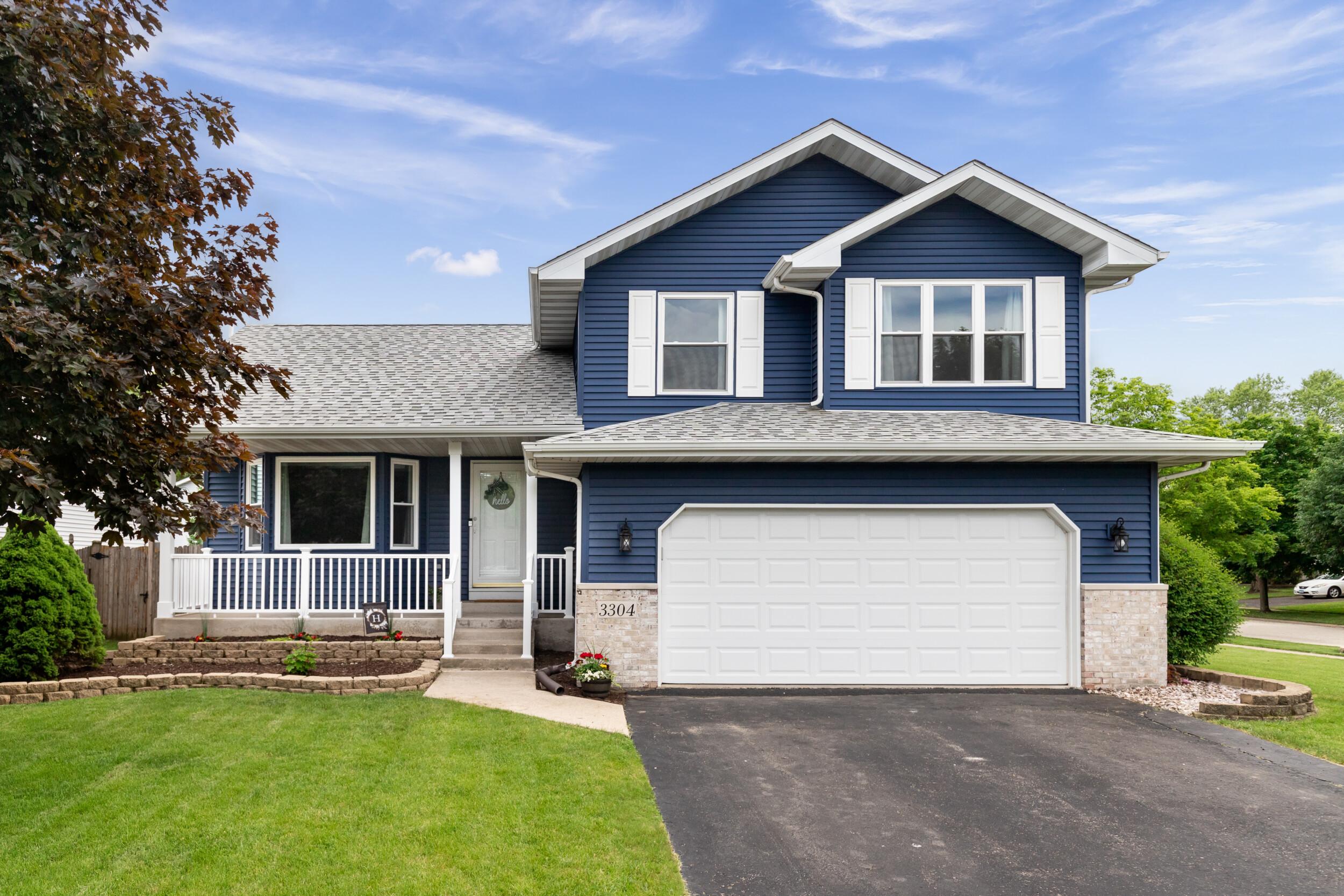 house exterior dark blue and white