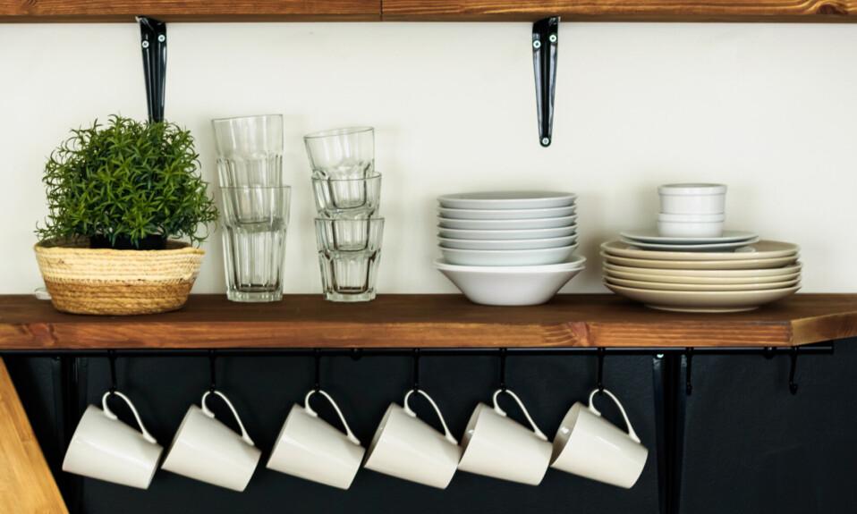 kitchen wall decor open shelving