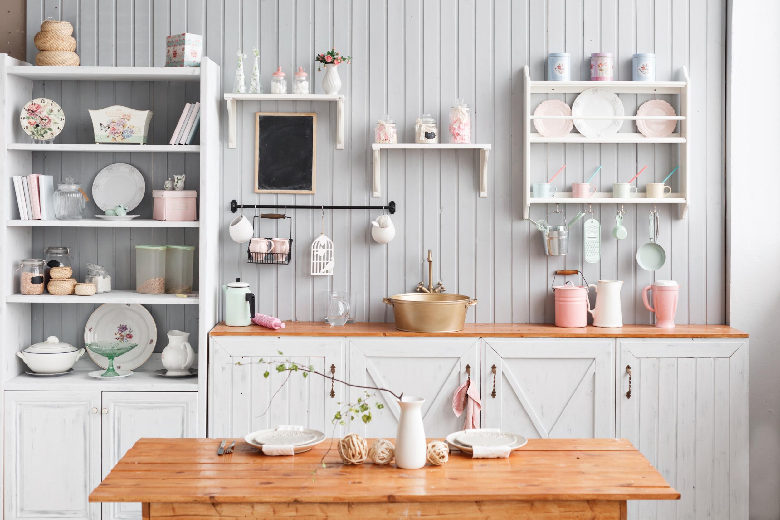 kitchen white shelving
