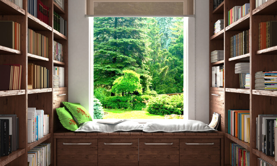 large window in home library