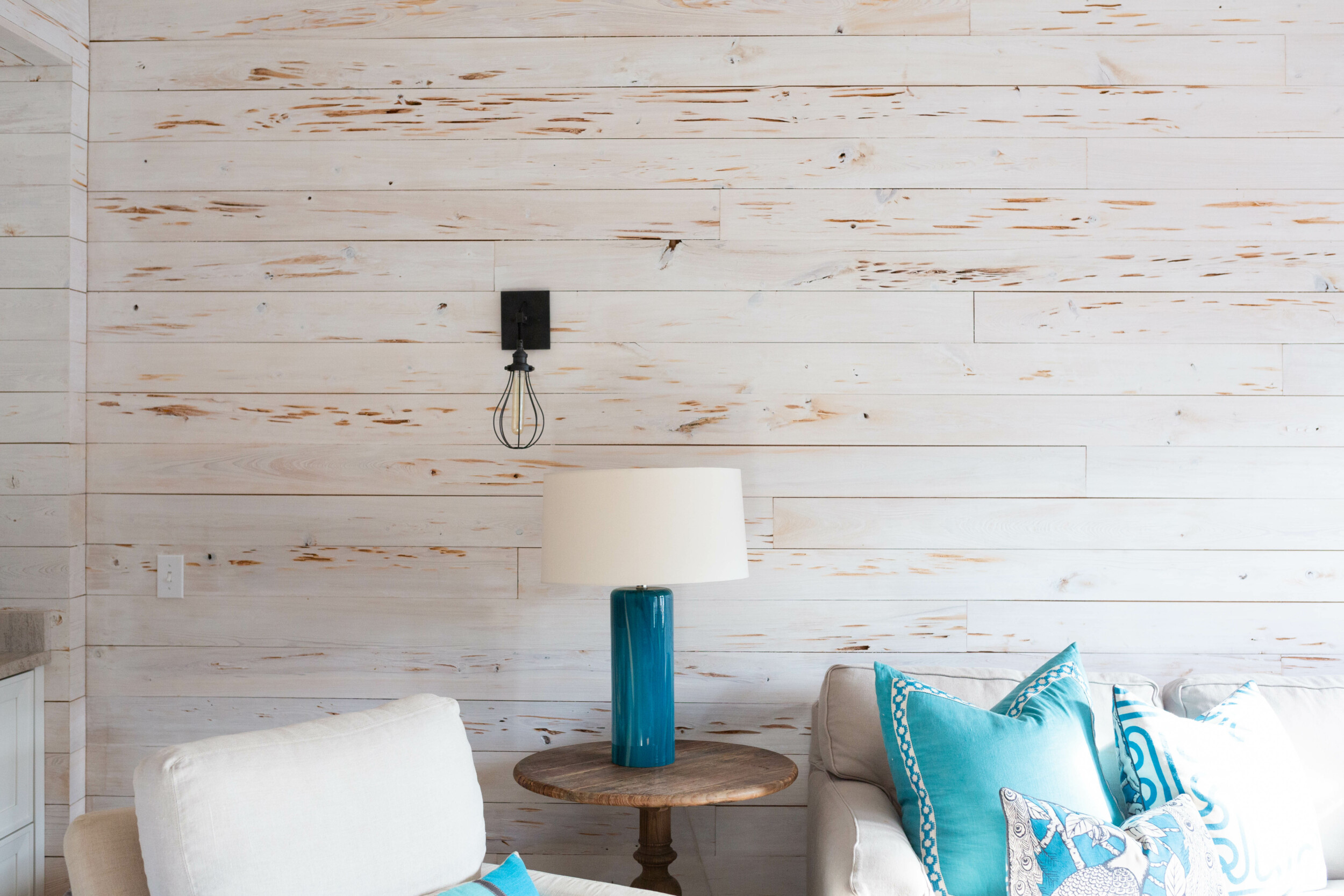living room with shiplap