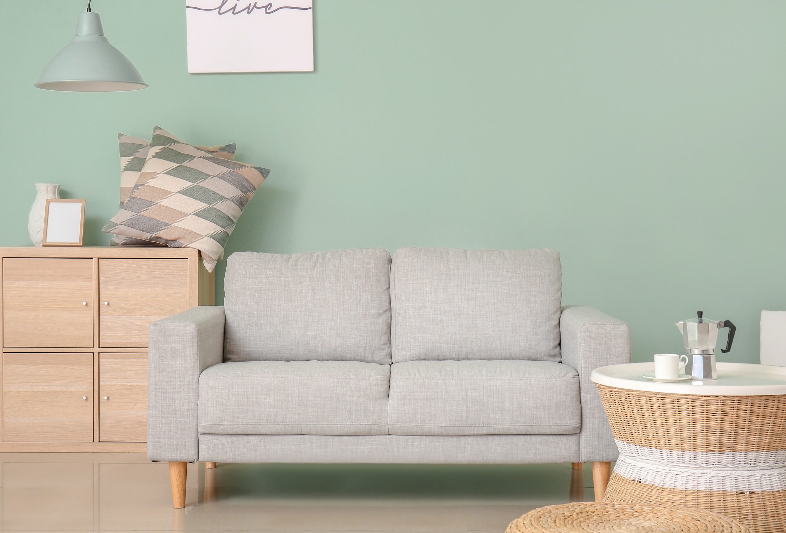 mint wall living room