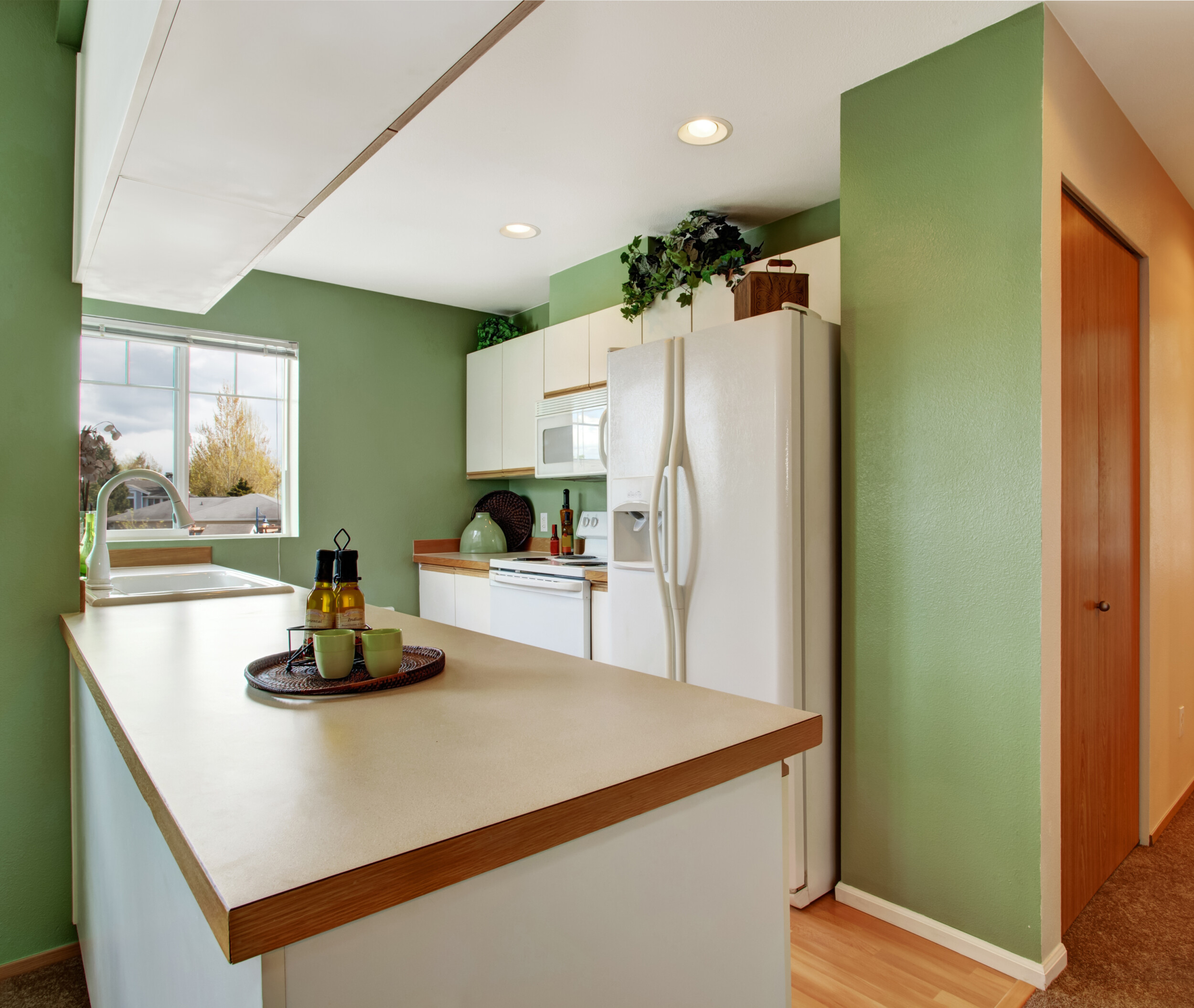 misty green paint kitchen
