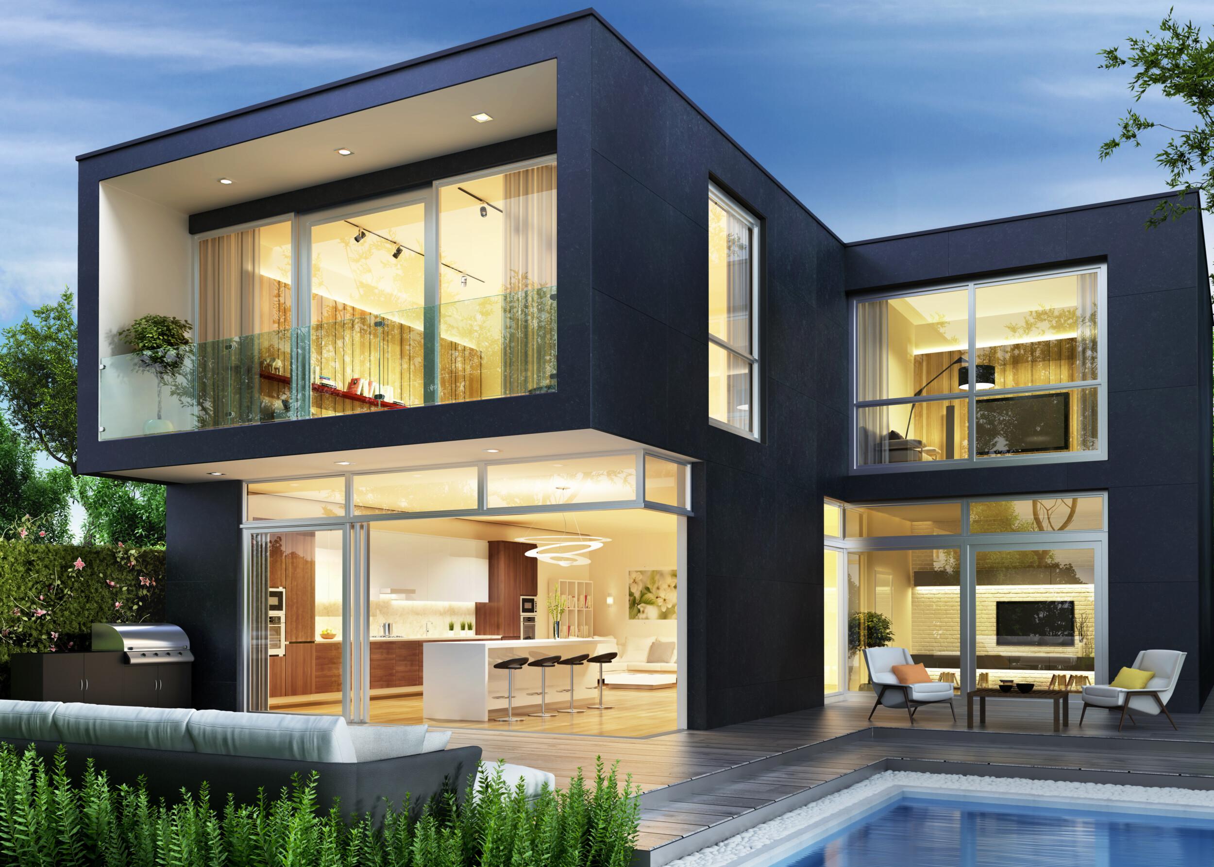 modern black house exterior