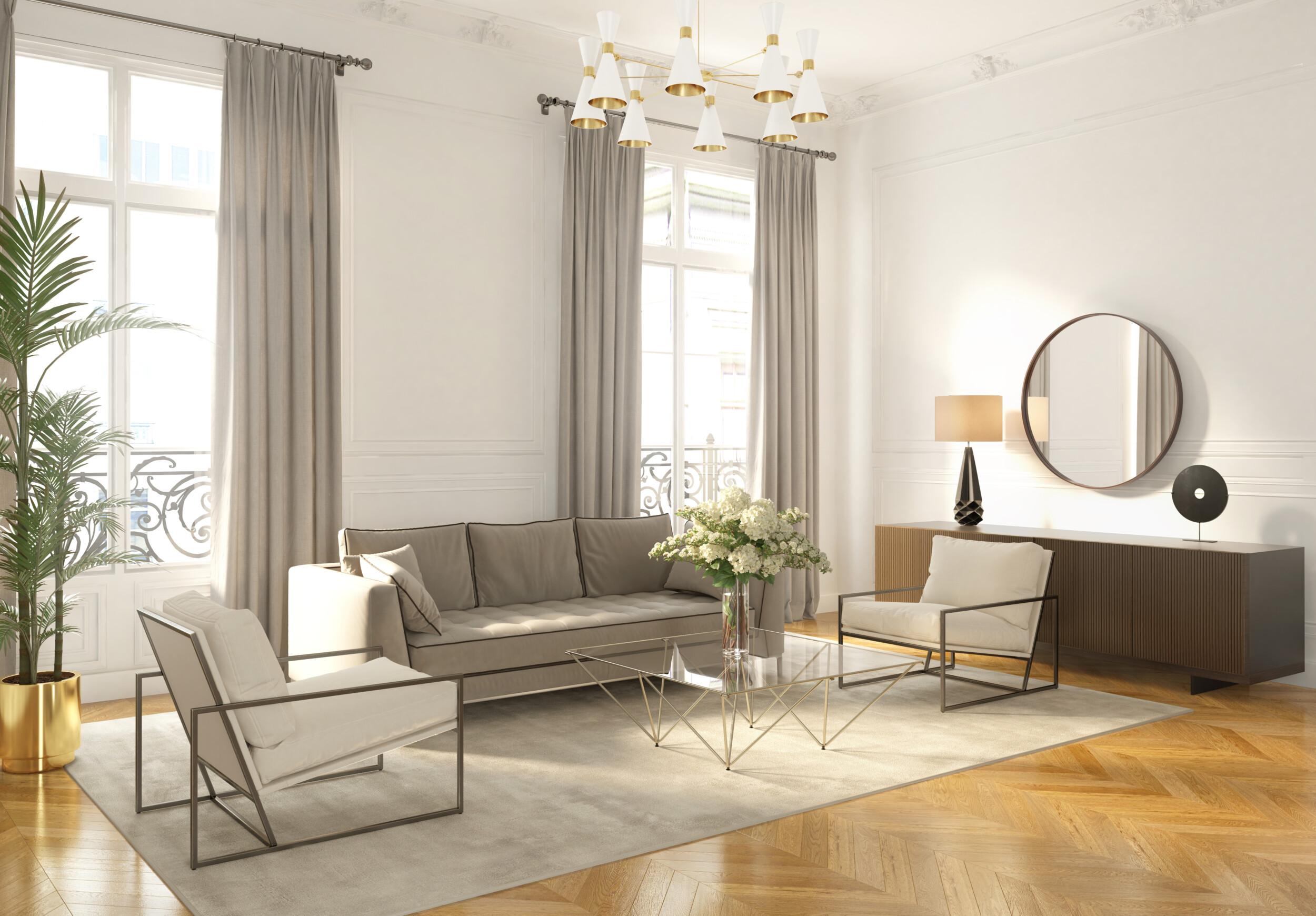 modern symmetrical living room