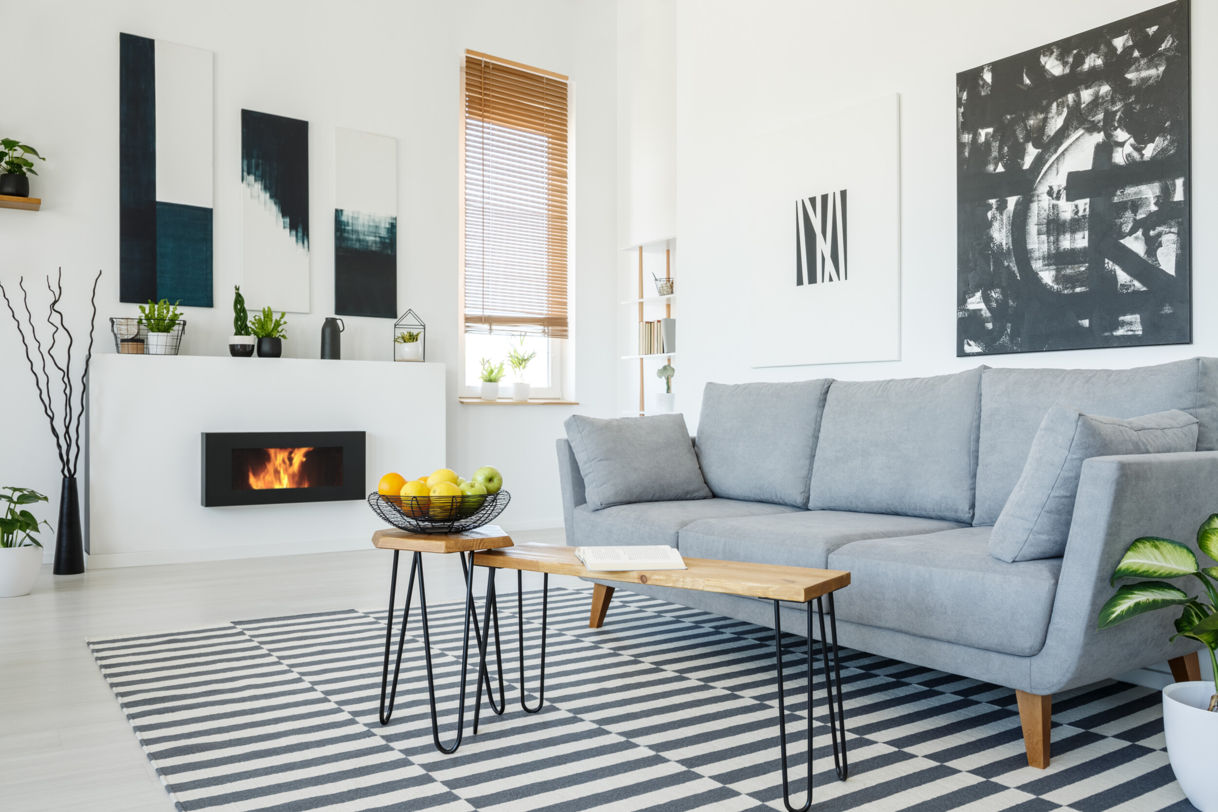 modern urban living room with grey sofa