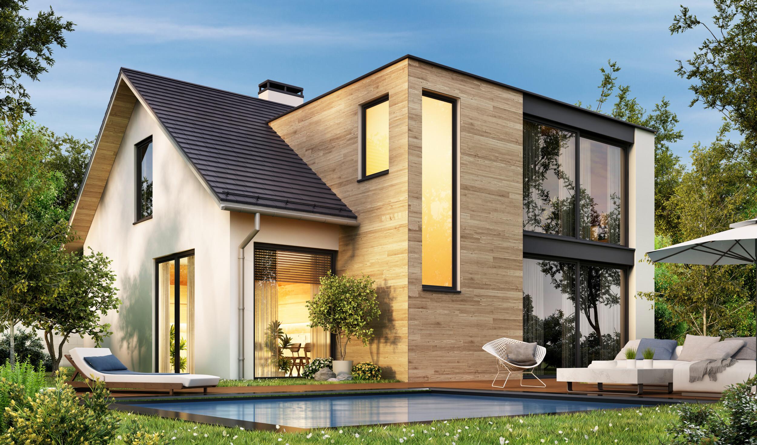modern wooden house exterior