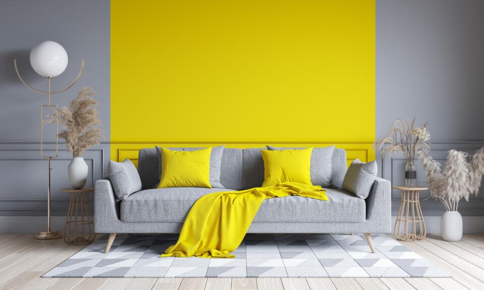 modern yellow and gray living room