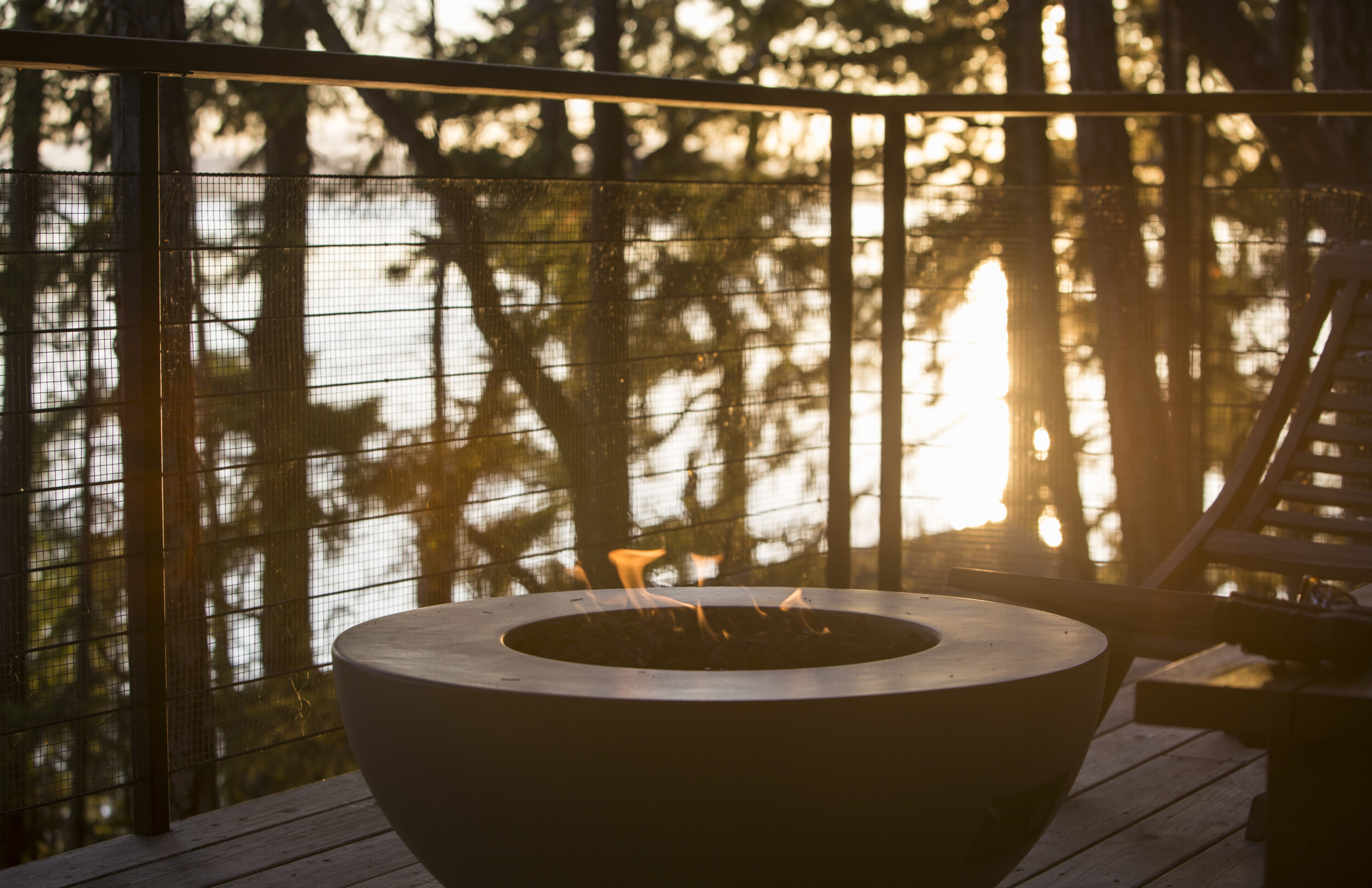 outdoor deck gas pit fireplace