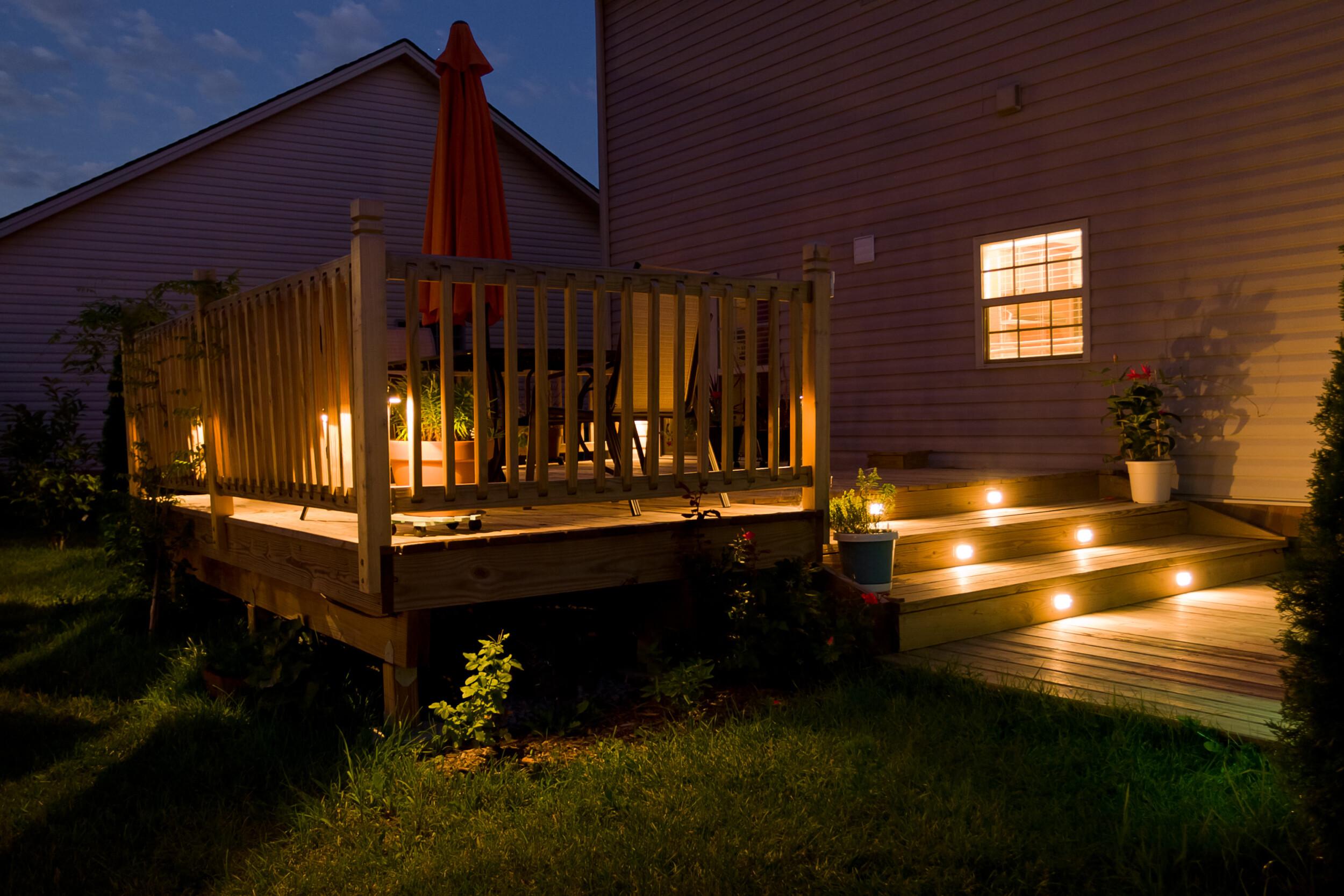 outdoor deck illuminated walkway
