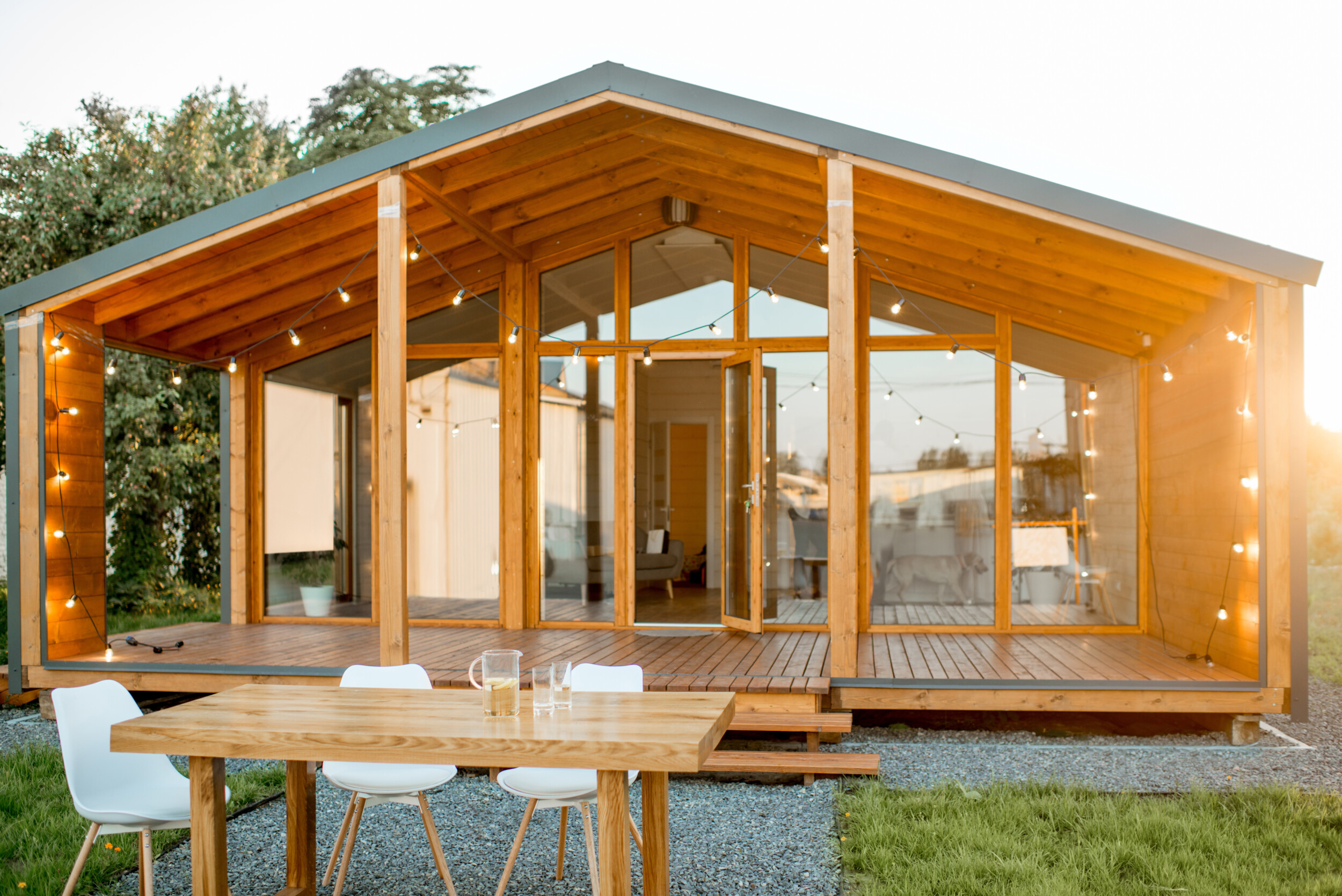 outdoor deck with  wooden roof