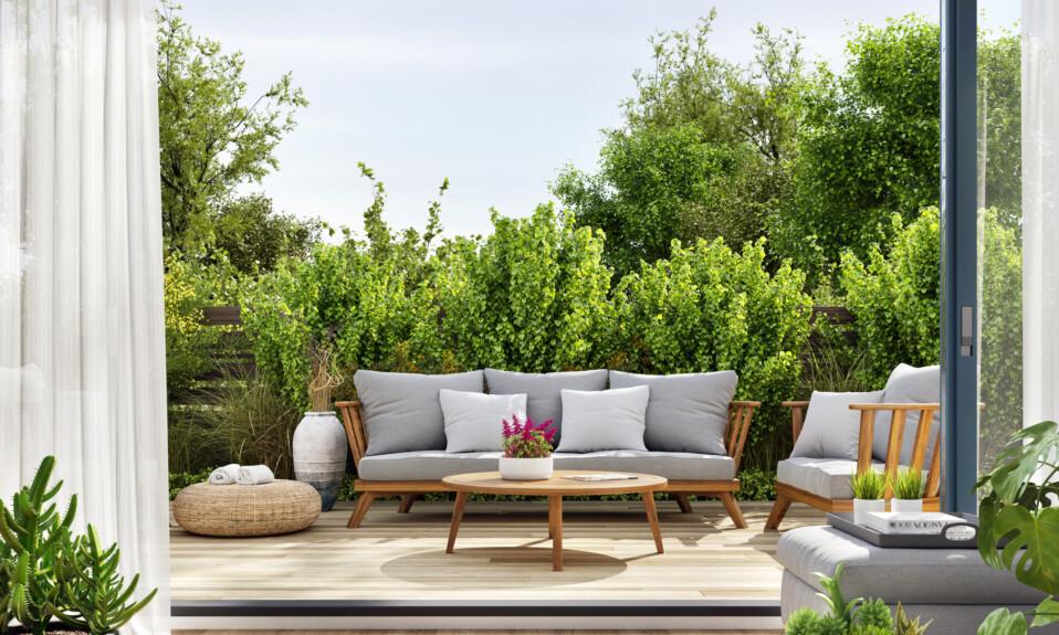 outdoor grey sofa