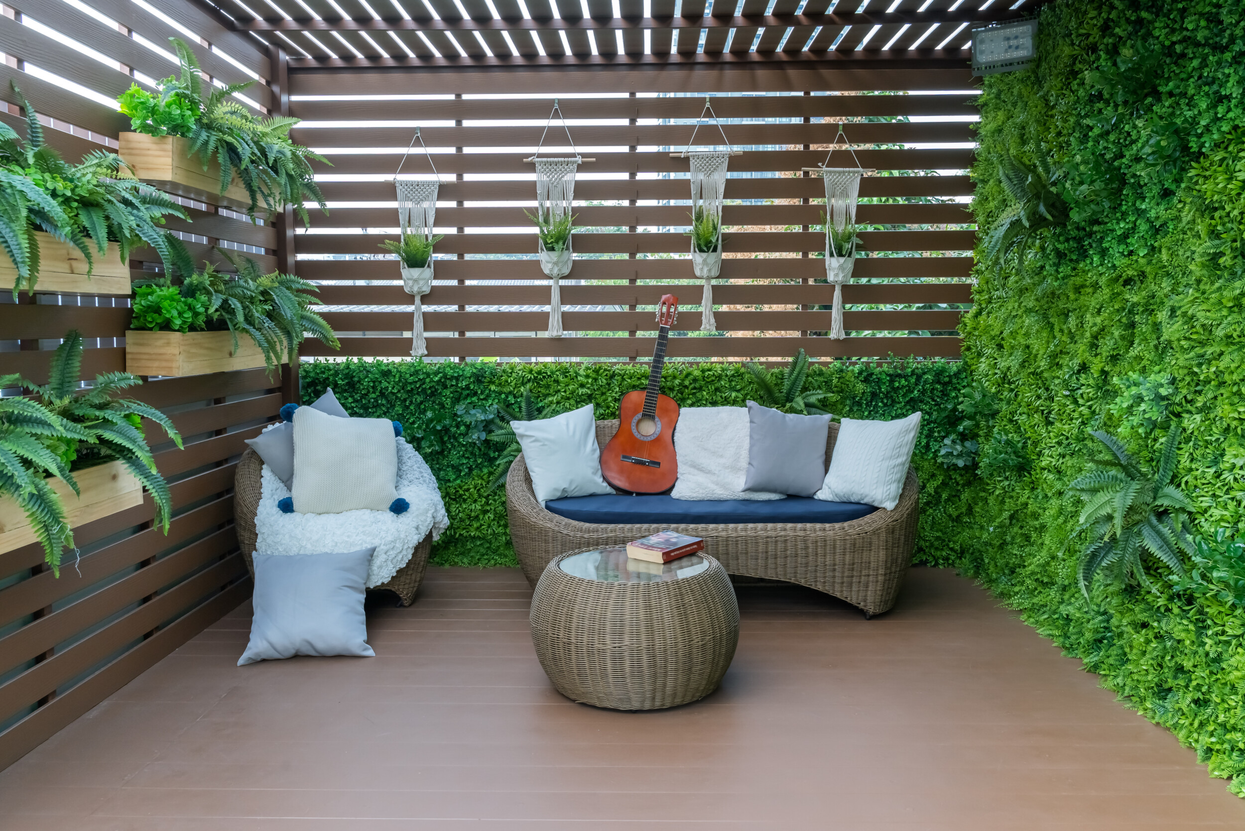 outdoo wooden deck living wall