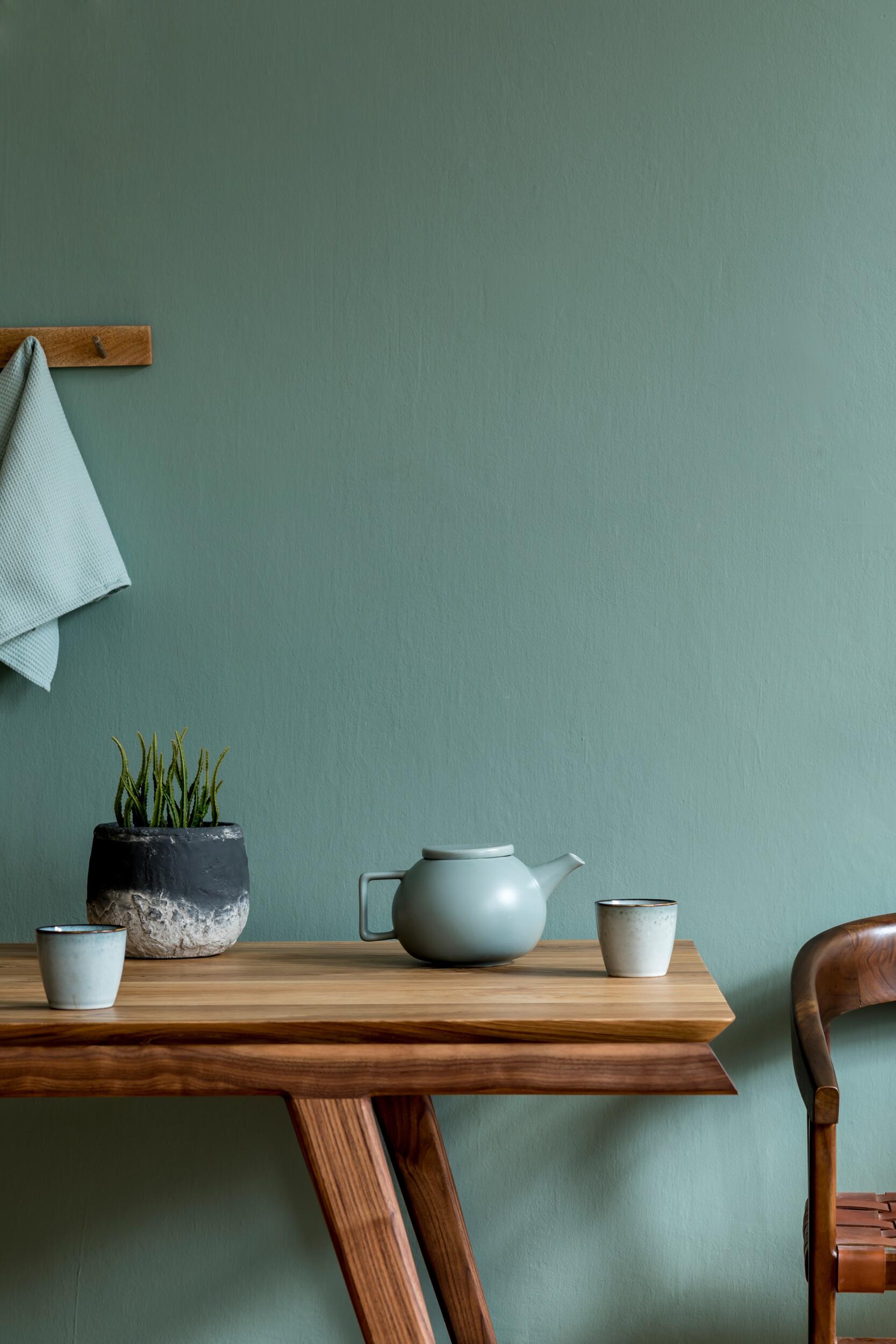 sage green kitchen interior