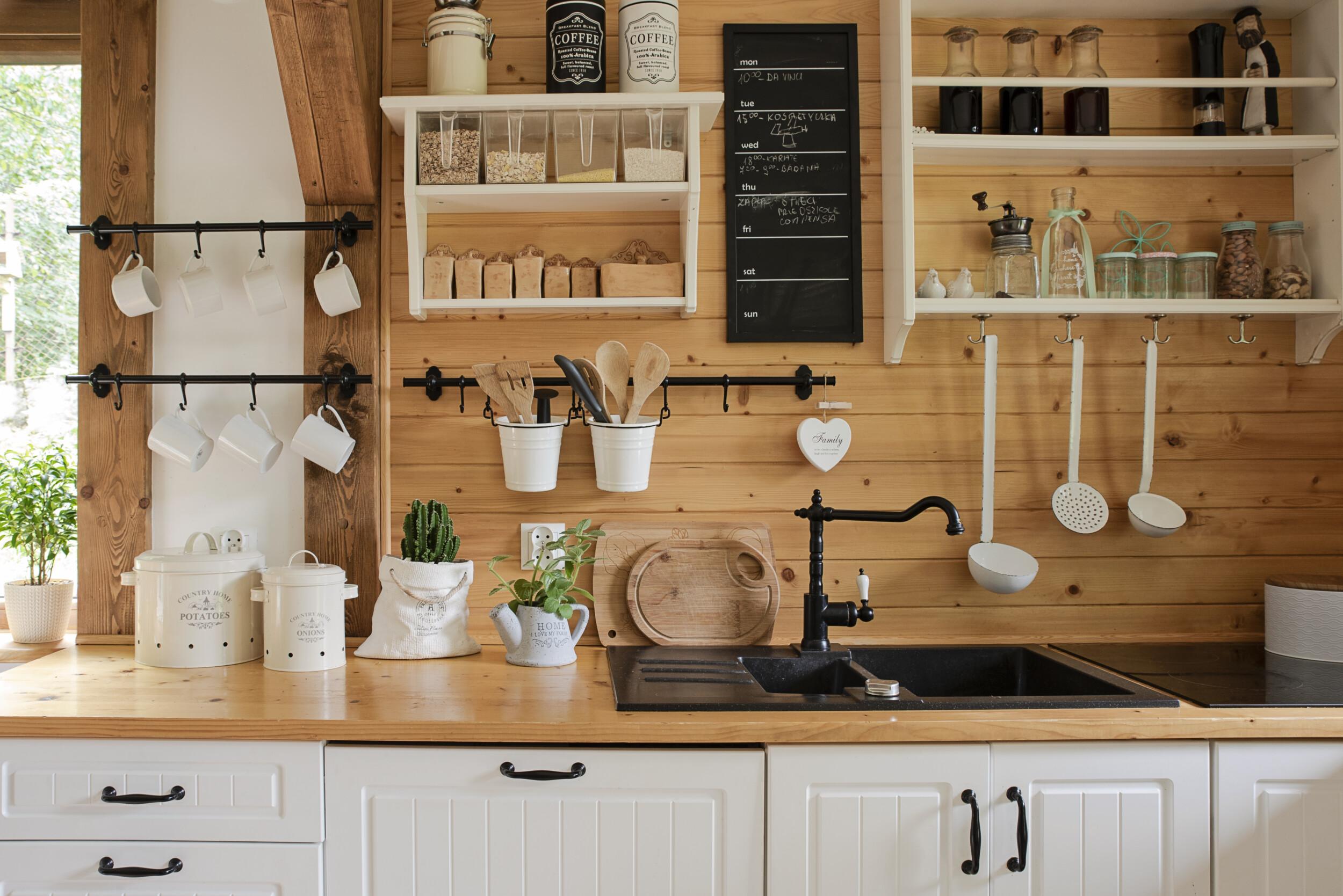 corner space open kitchen shelving