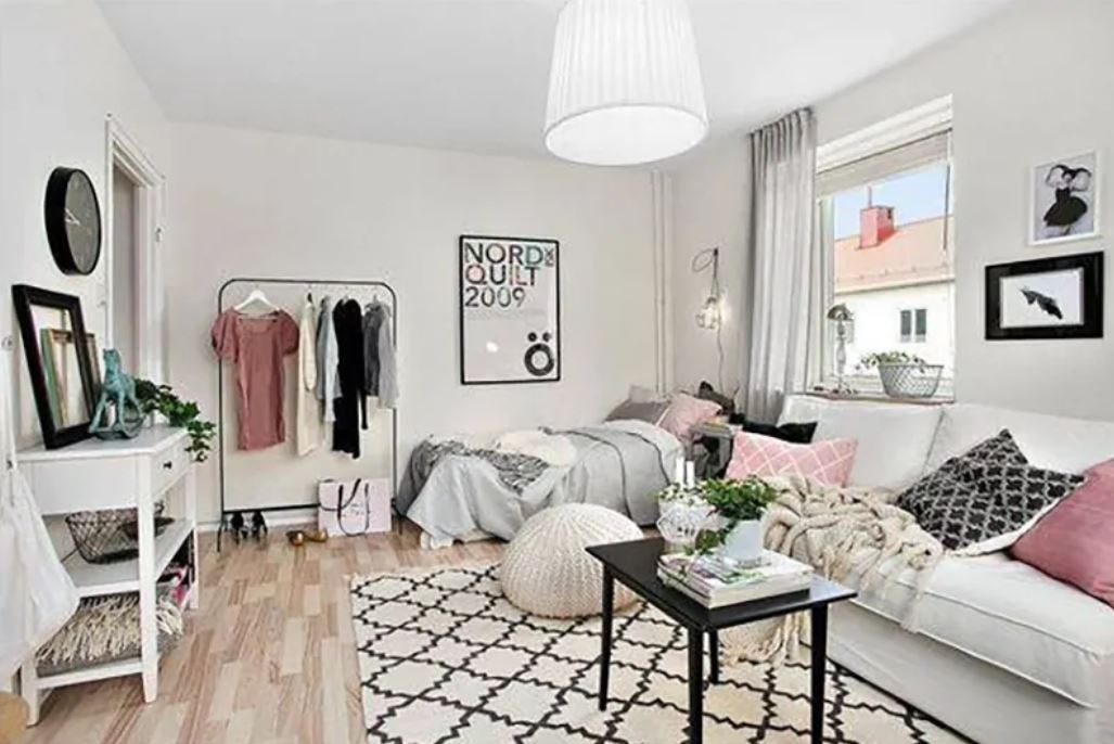 small room with area rug