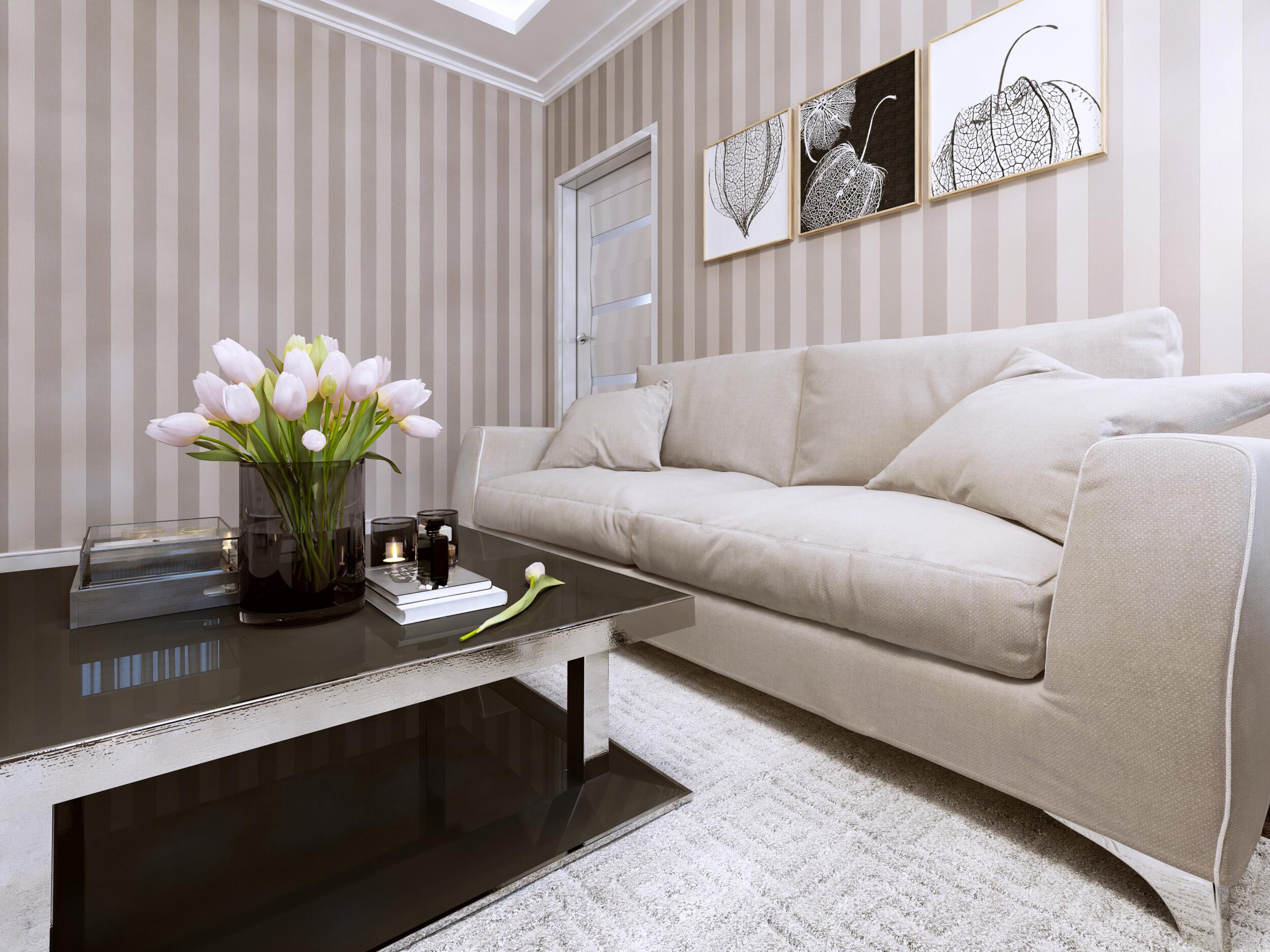 stripes living room