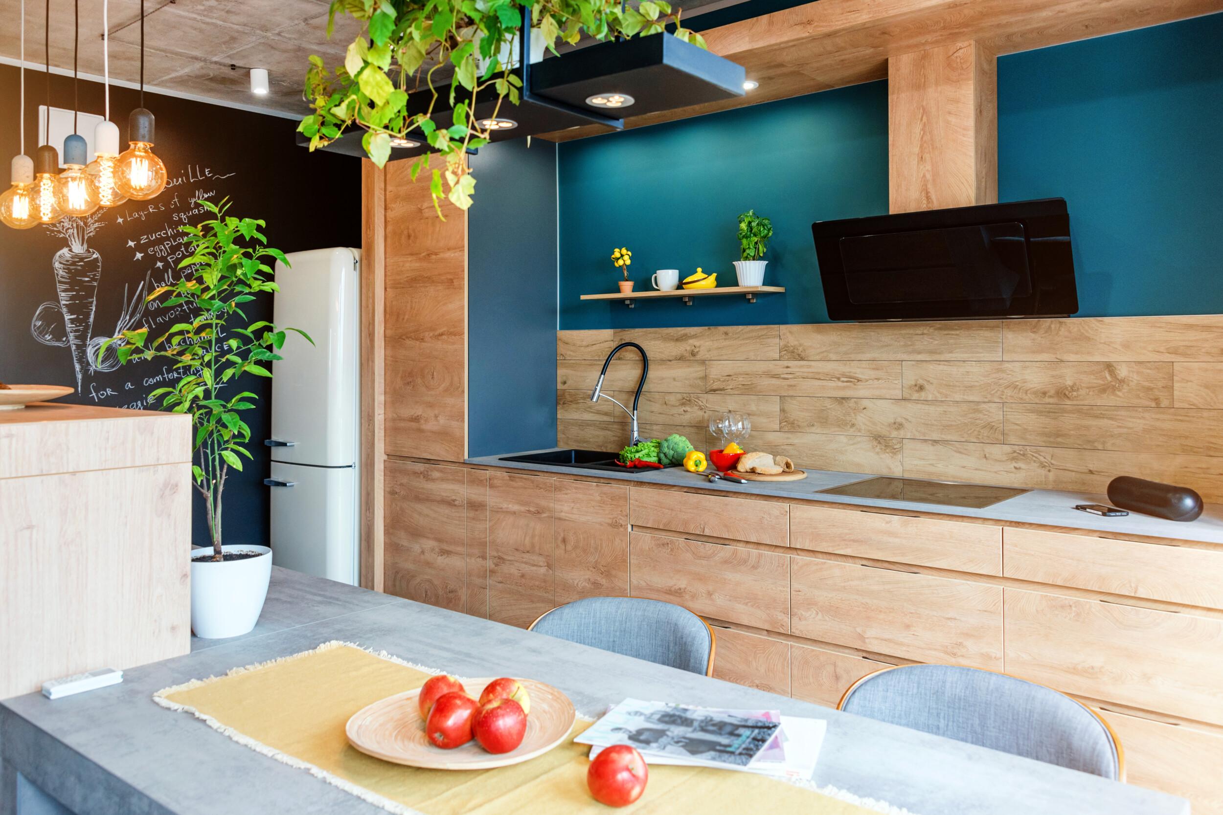 teal blue kitchen design