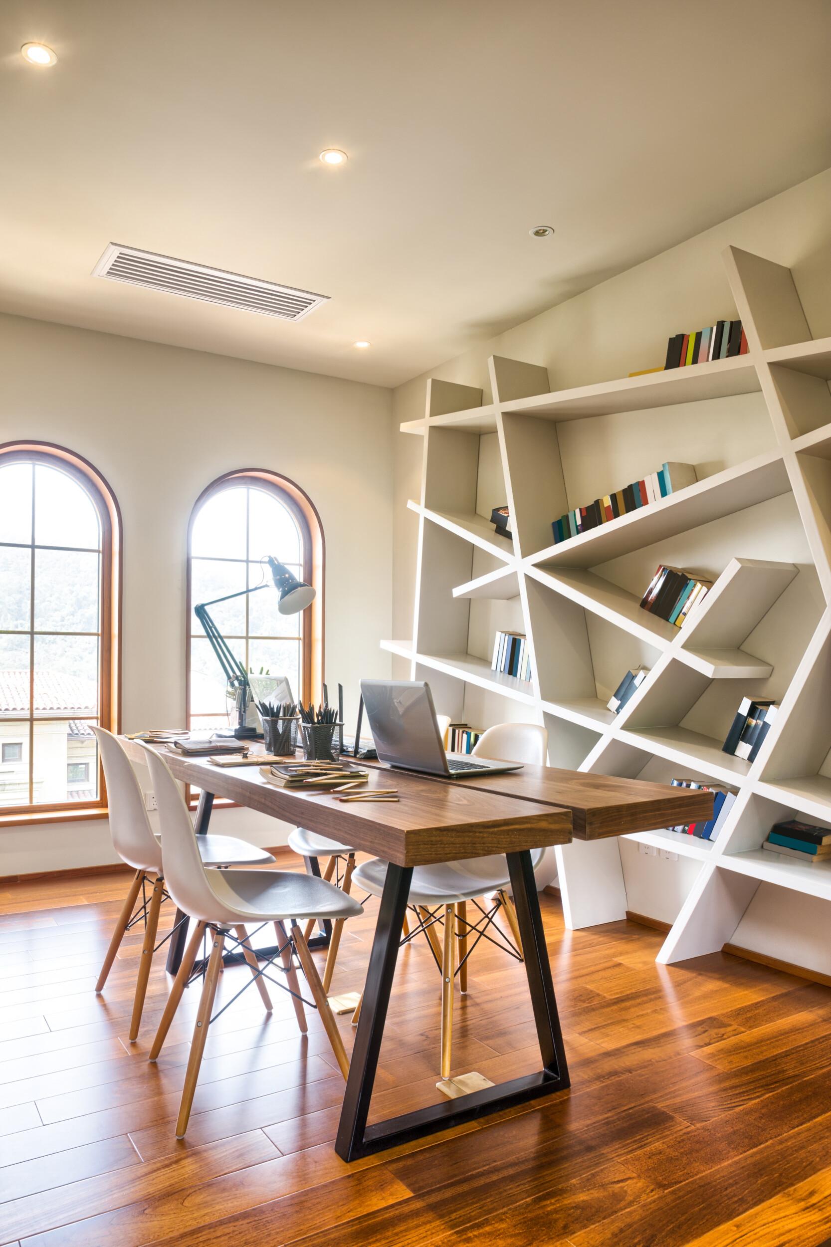 unique shelving study room