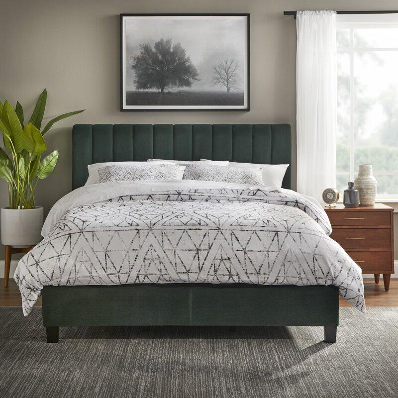 upholstered green velvet bed