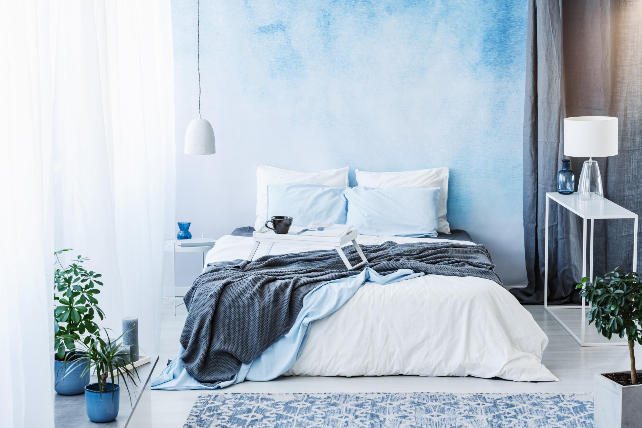wallpaper blue hues bedroom