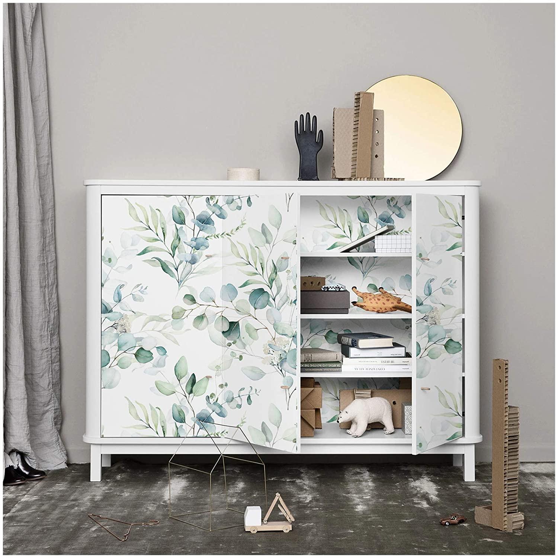 wallpaper inside of cabinet