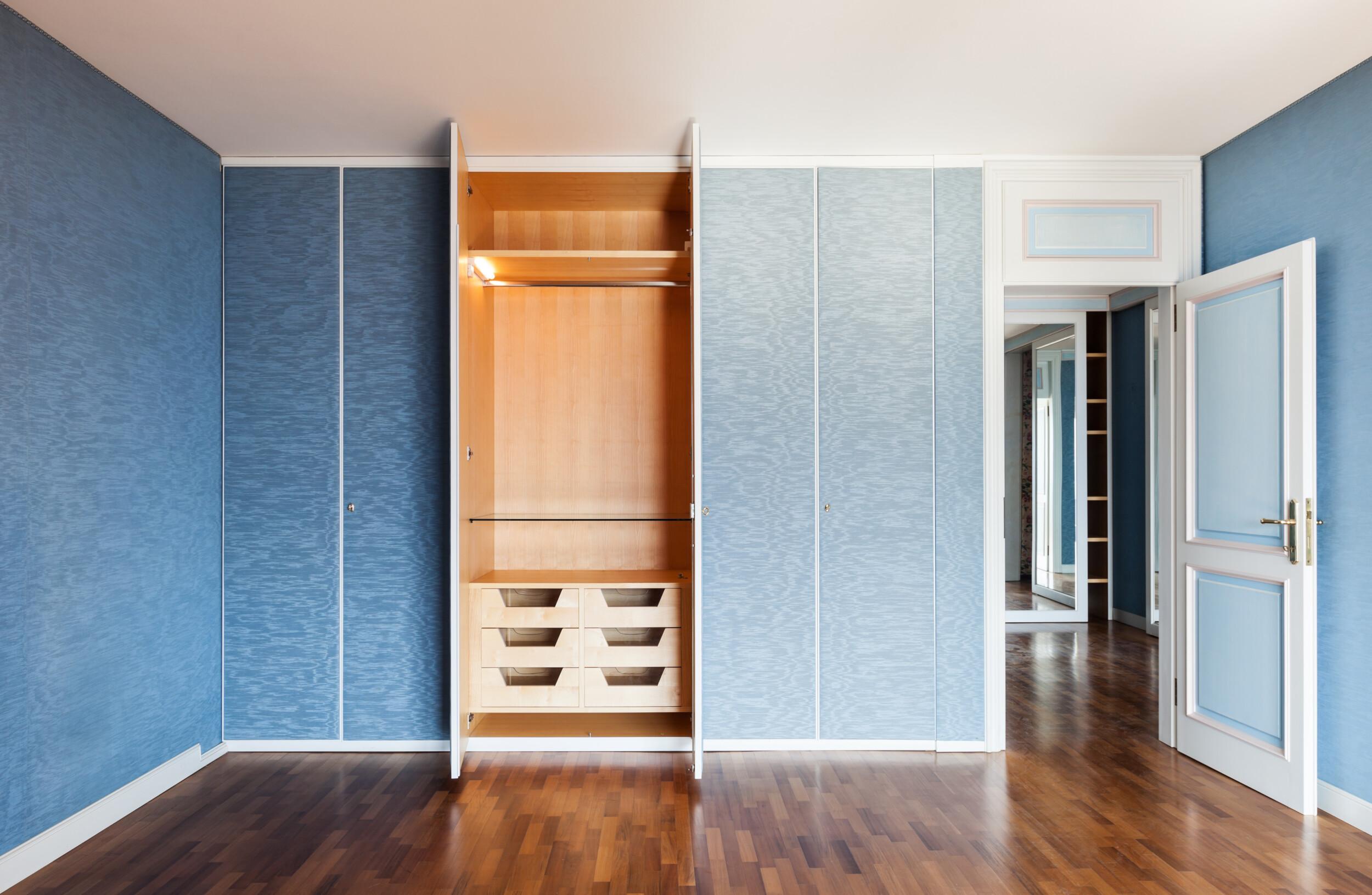 wallpapered closet doors