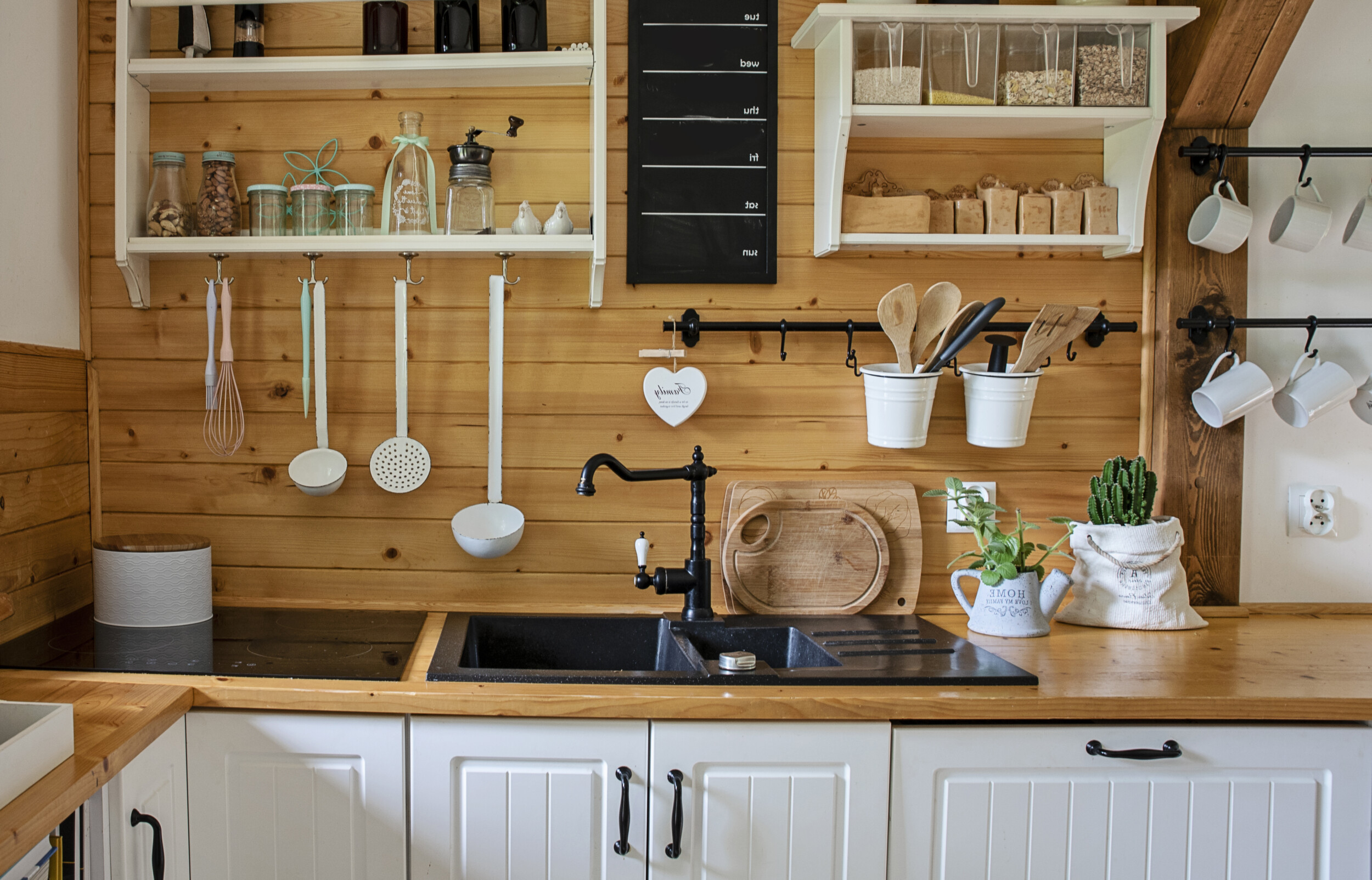 wooden countertop country kitchen