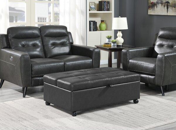 Black Leather Ottoman Sleeper Chair