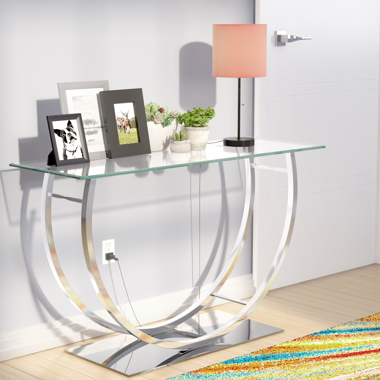 Chrome and Glass for a Modern Hallway Console Table