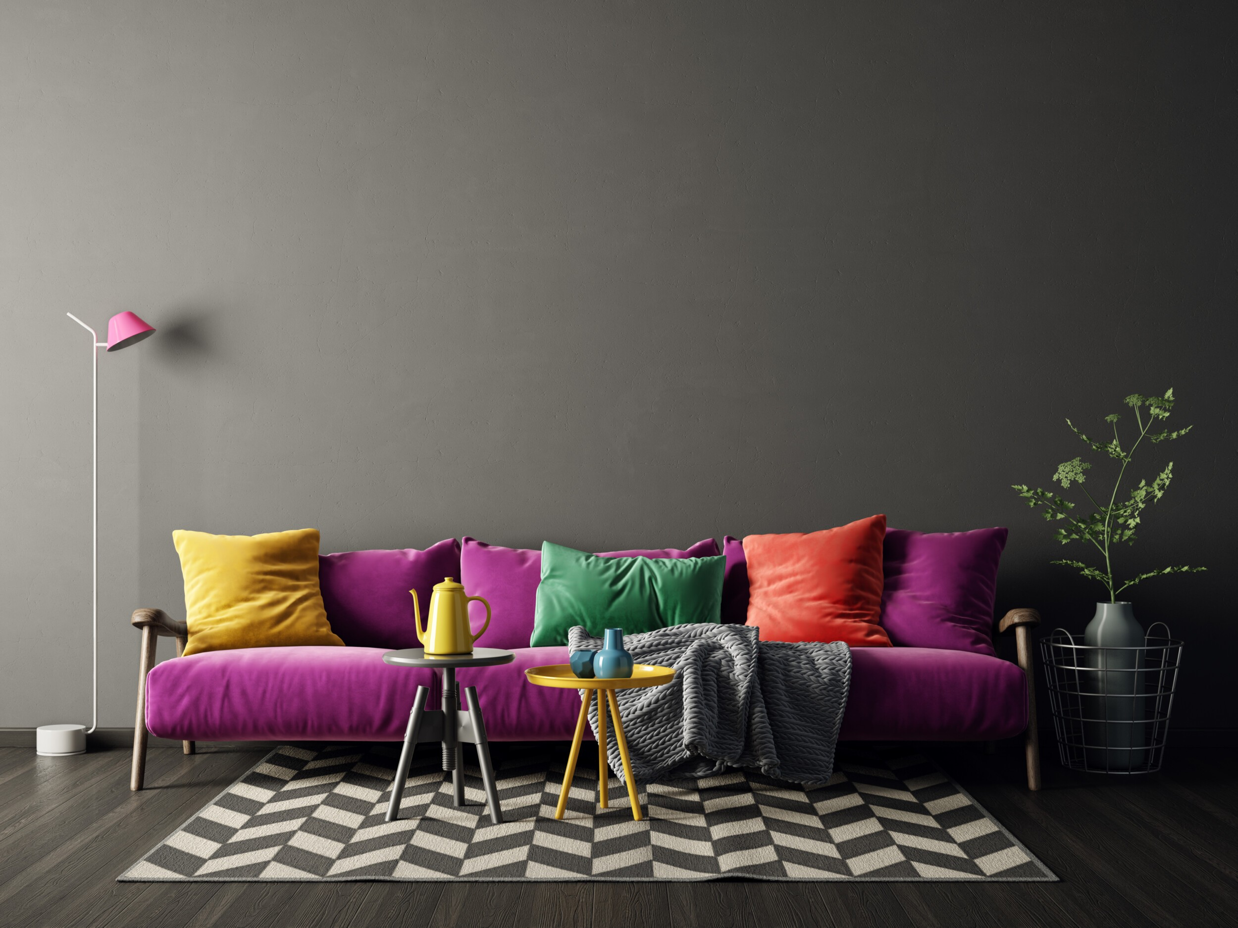 Colors are the star of the show, Eclectic design interior with purple sofa. Scandinavian furniture