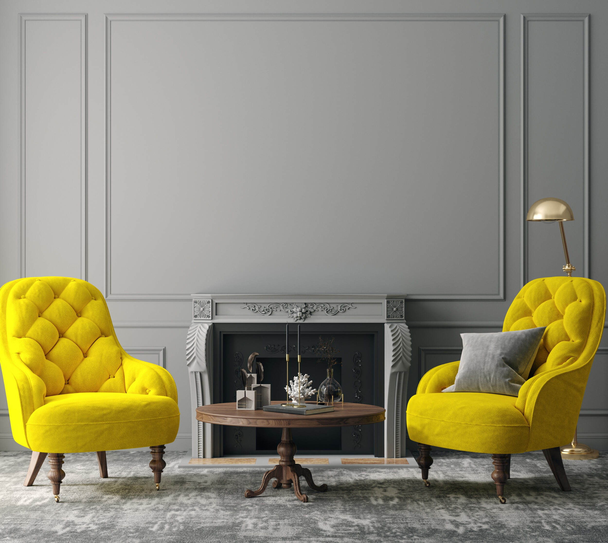Elegant dark grey interior with bright yellow armchairs