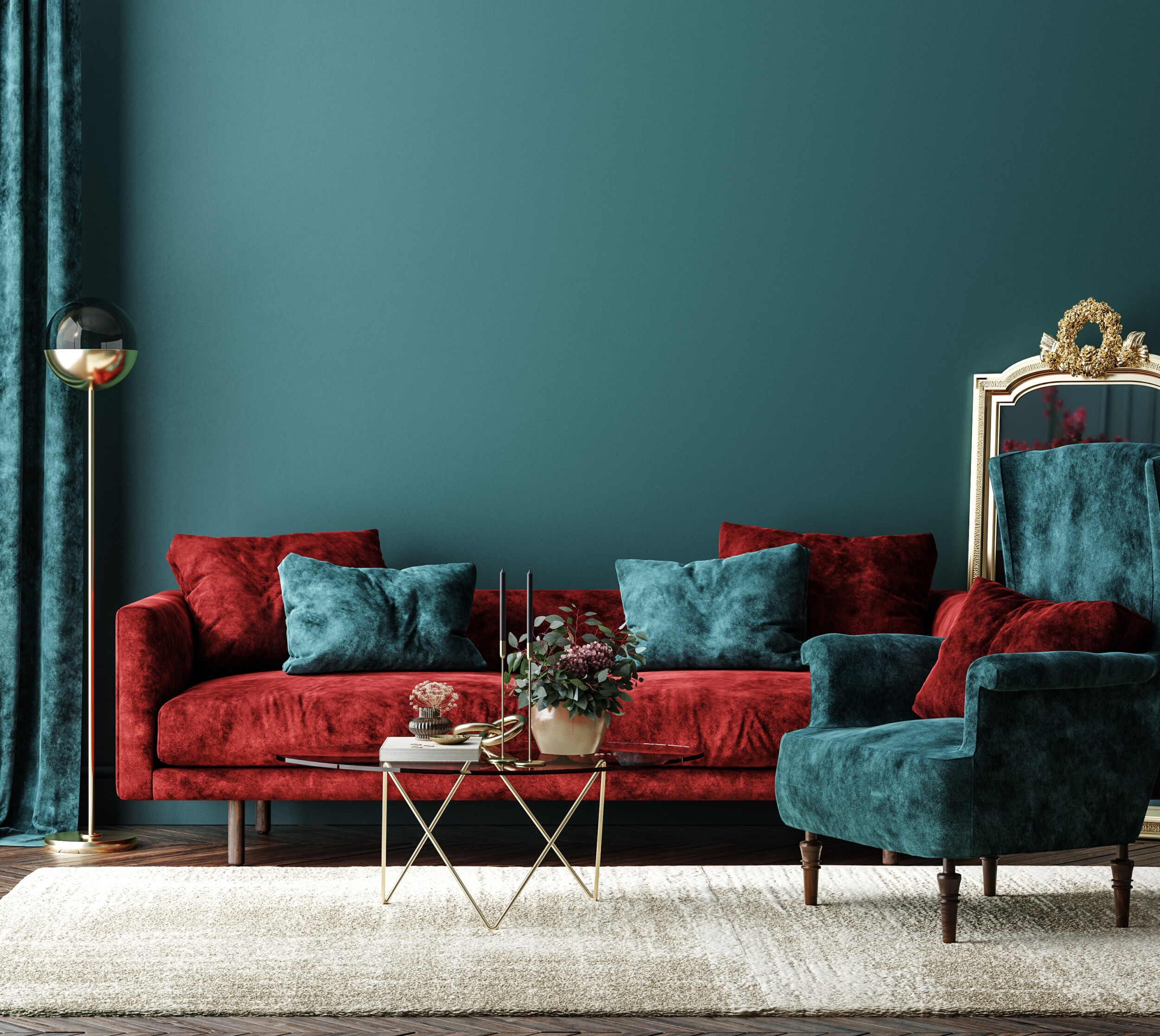 Hollywood Regency Style red sofa