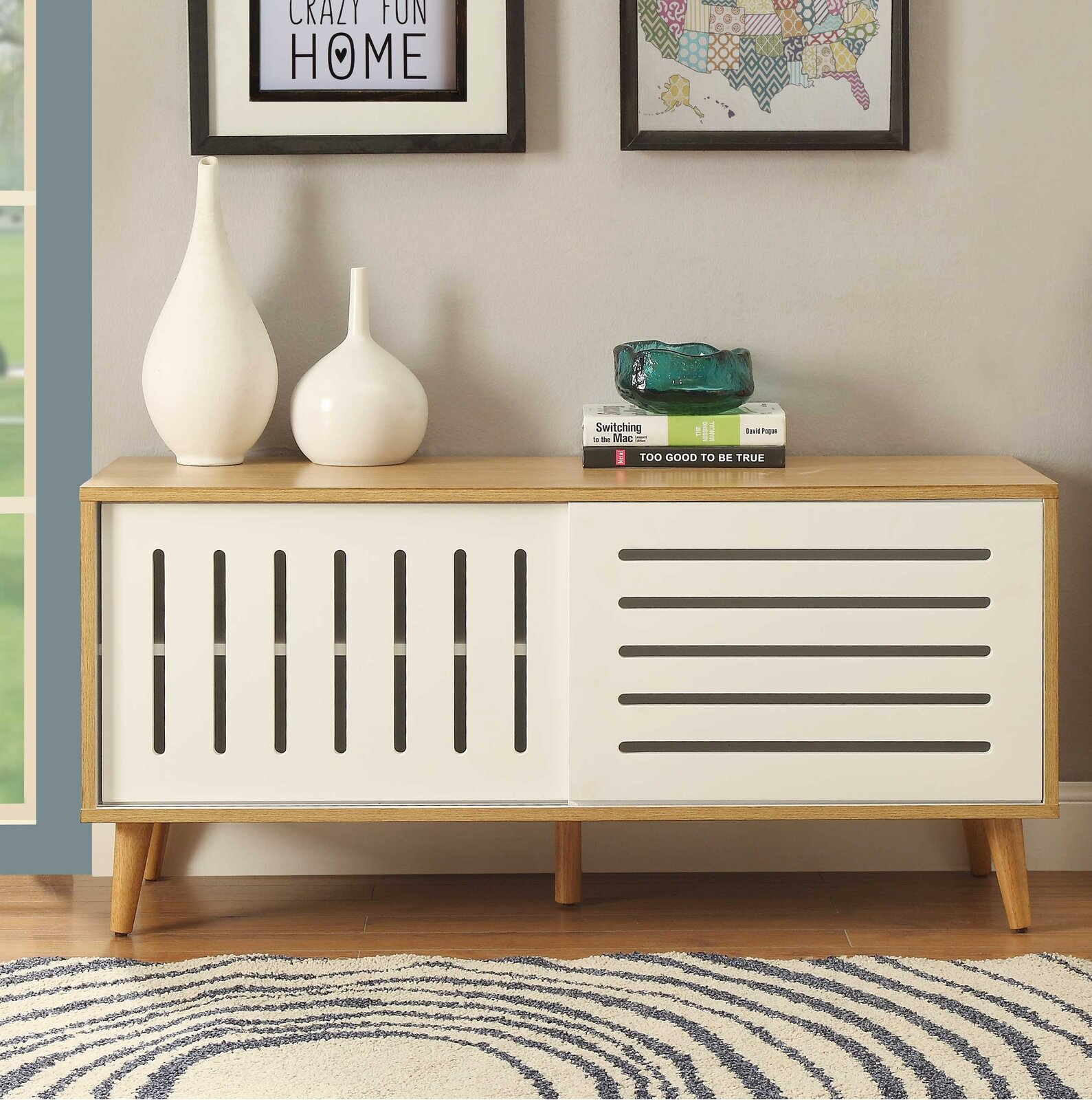 Mid-Century Console Table With Sliding Doors