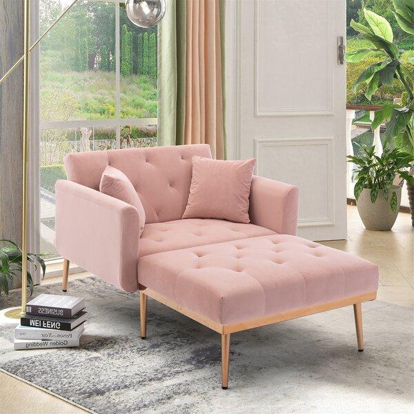 Plush Pink Velvet Chaise Lounge