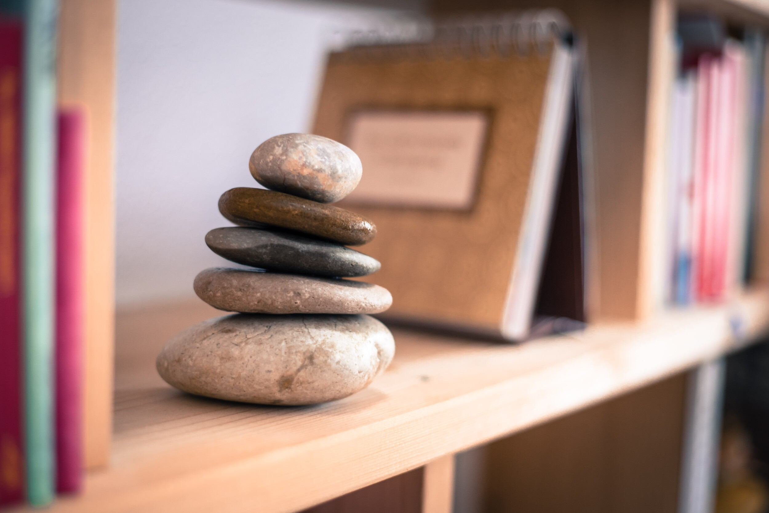 Stone cairn in a book shelf in the living room
