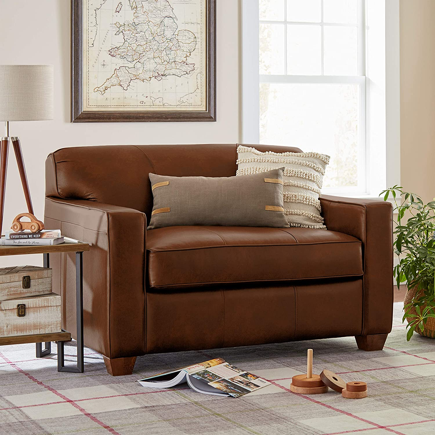 Timeless Chestnut Leather Pull-Out Chair