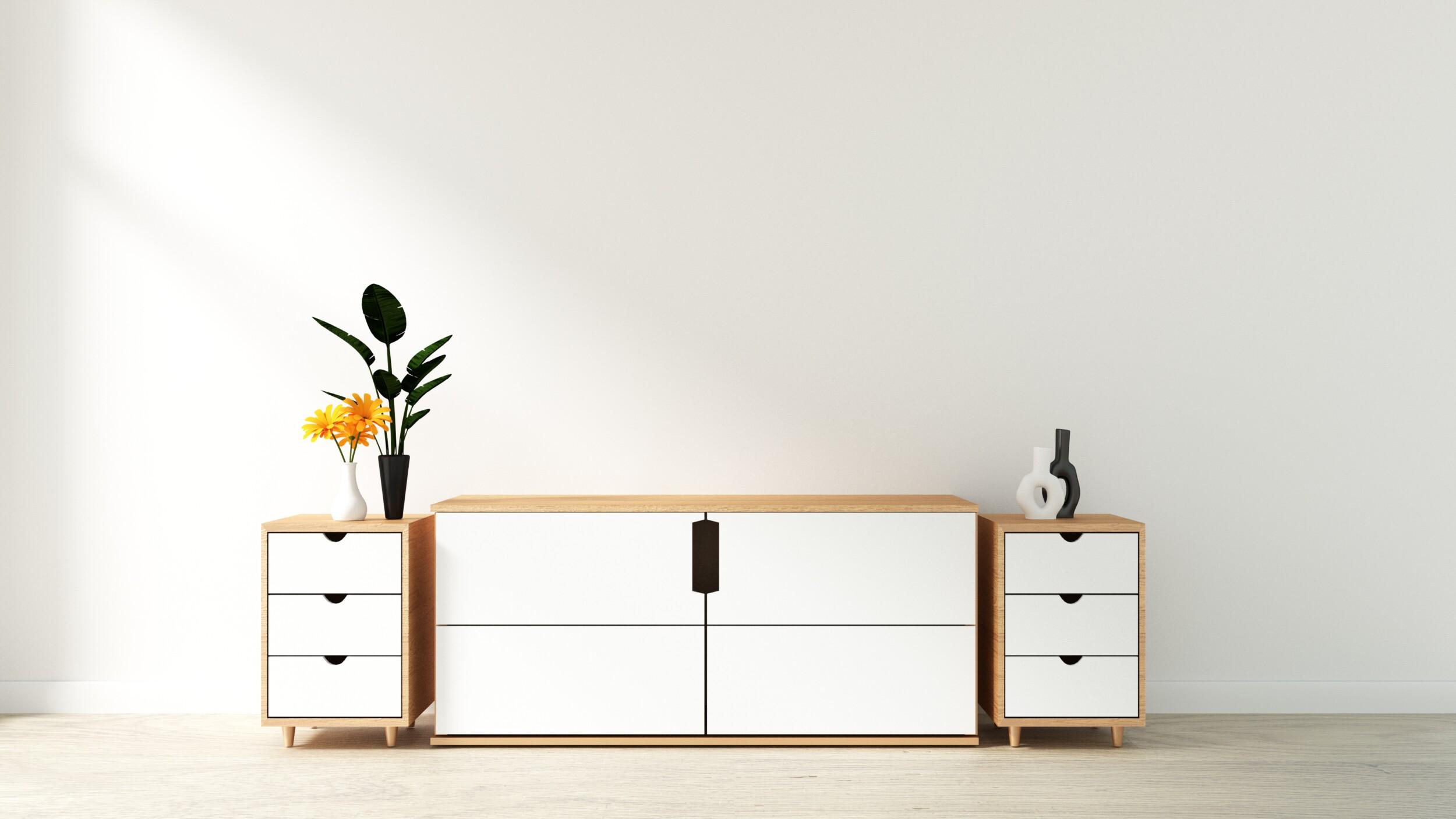 Tv cabinet in modern empty room Japanese - zen style