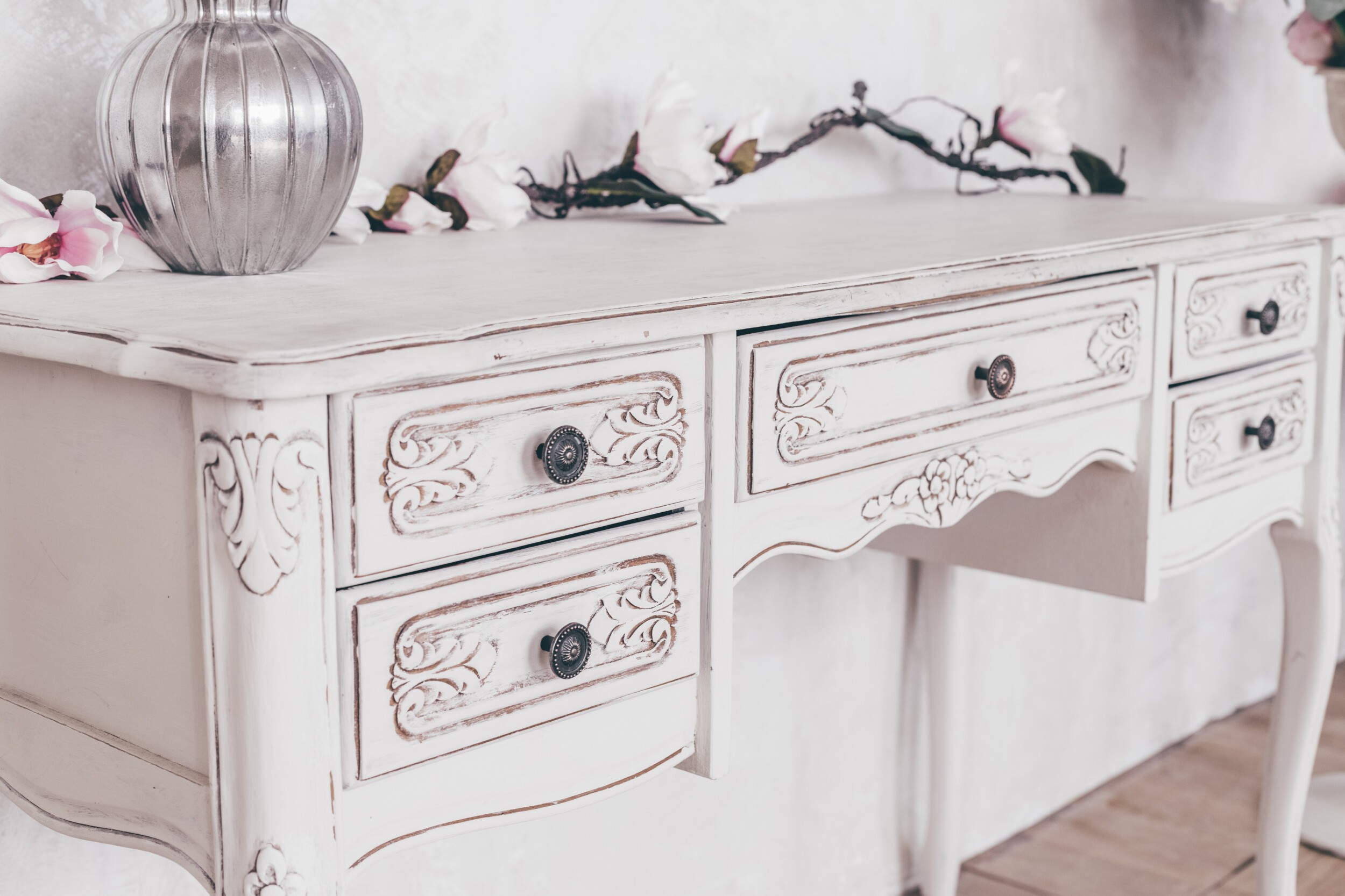 Vintage wooden cupboard shabby chic style