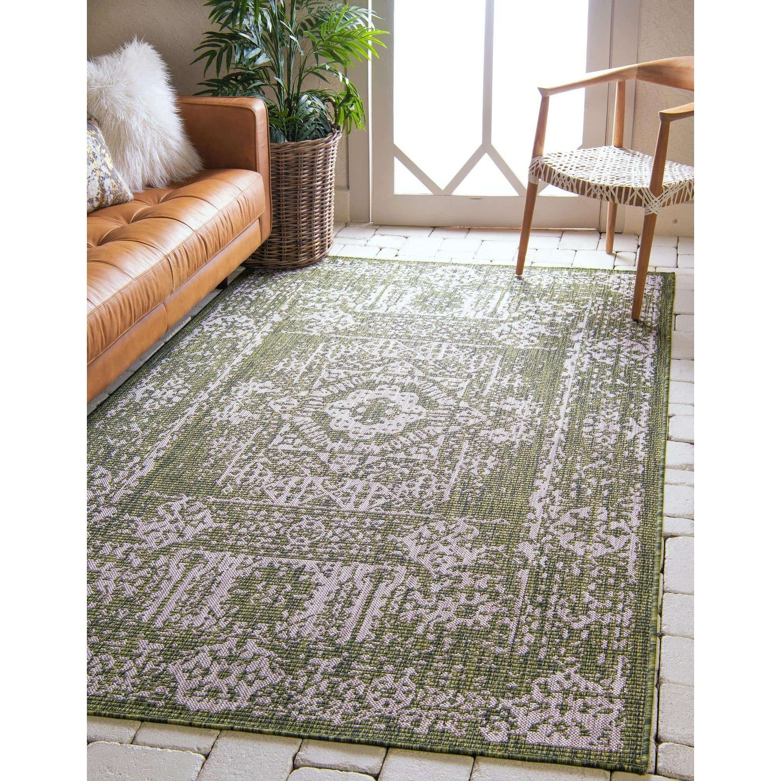 distressed green area rug
