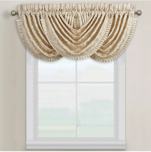 extravagant curtain with a satin ruffle waterfall valance