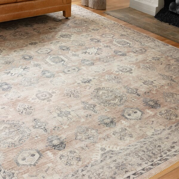 faded oriental rug in ivory beige and grey