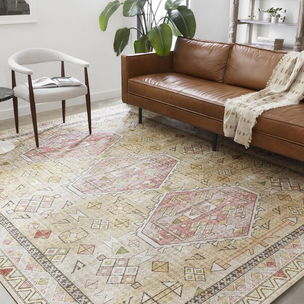 gold and blush rug