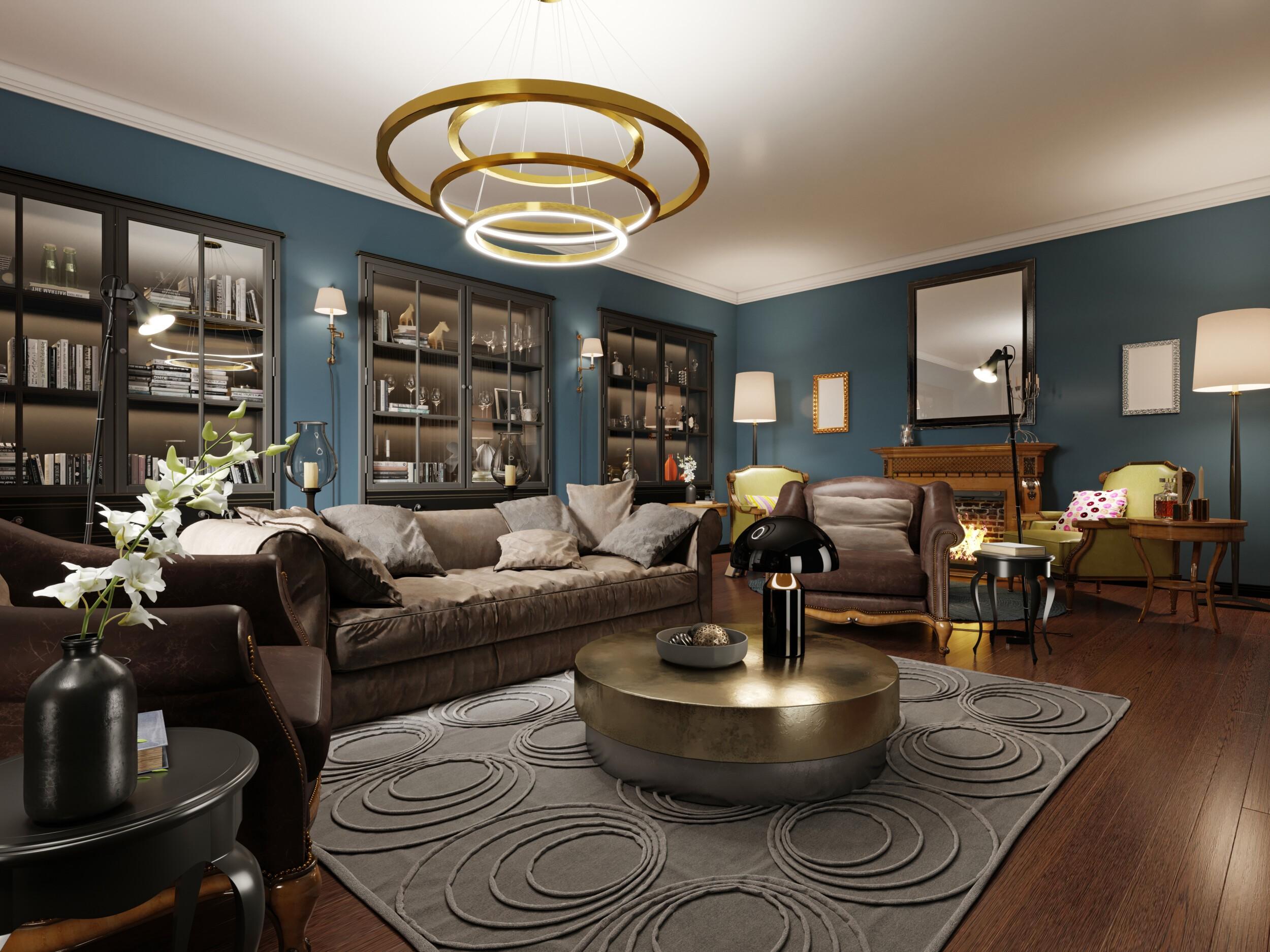 modern eclectic living room in dark colors