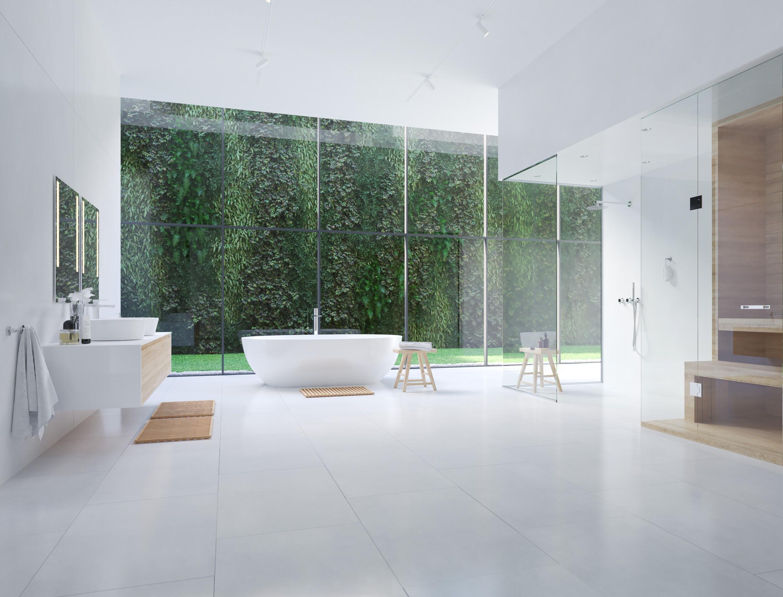 modern zen bathroom with tropic plants