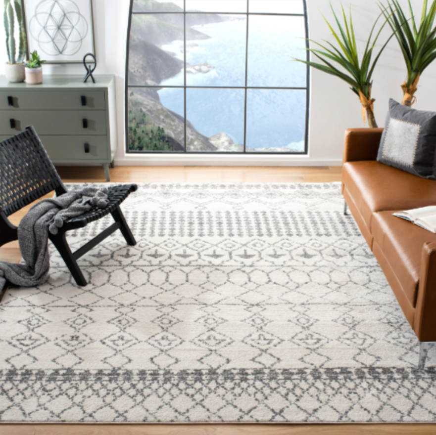 moroccan style rug for relaxed boho vibe
