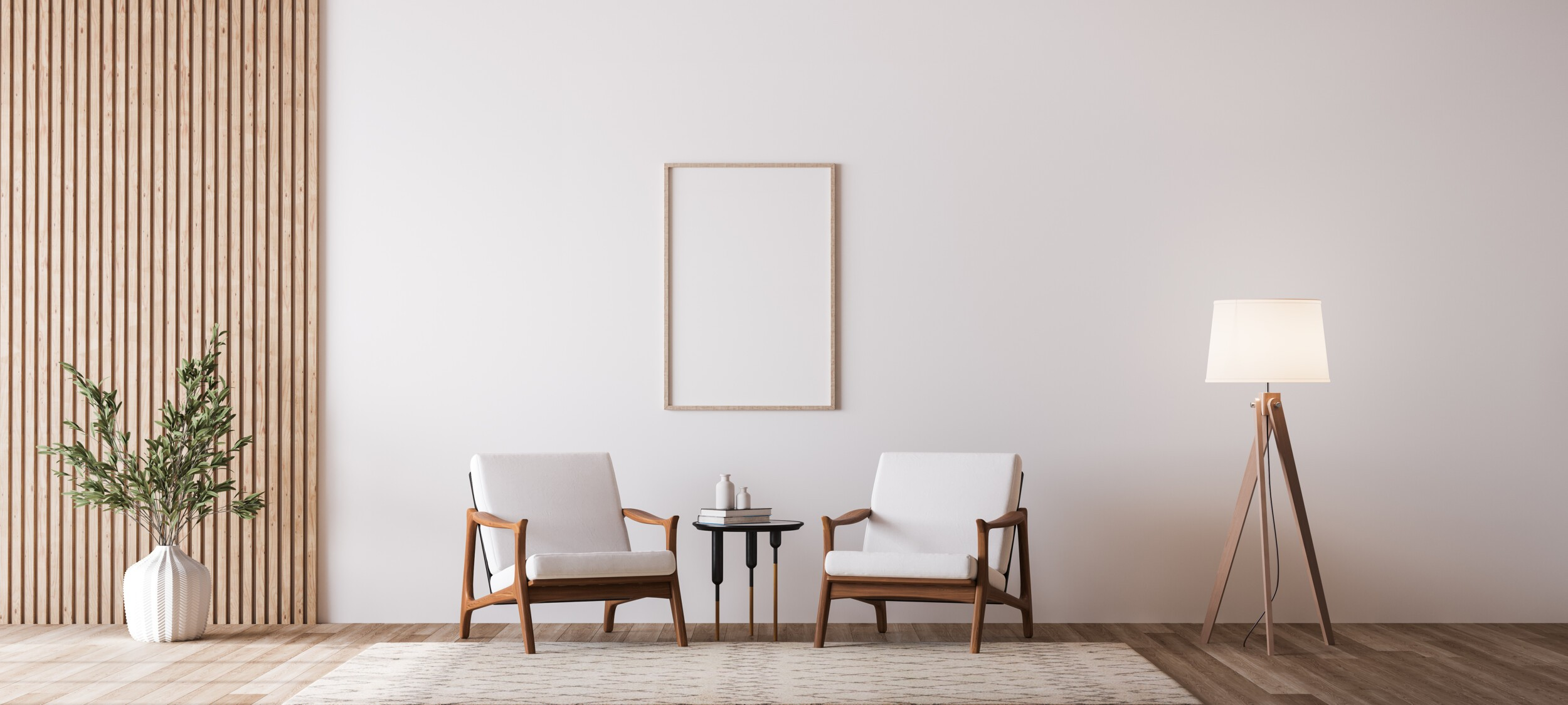 two wooden chairs on white wall
