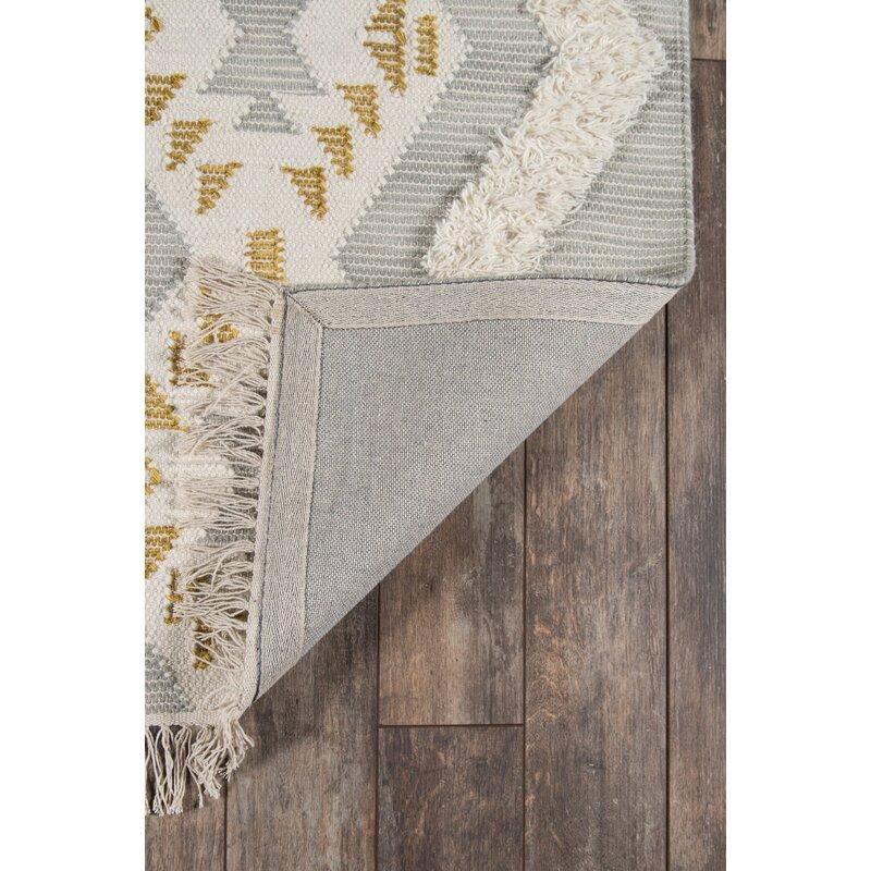 Gray flatweave Wool Area Rug