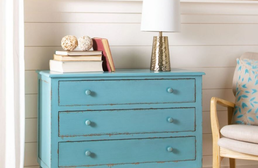 colorful vintage country dresser